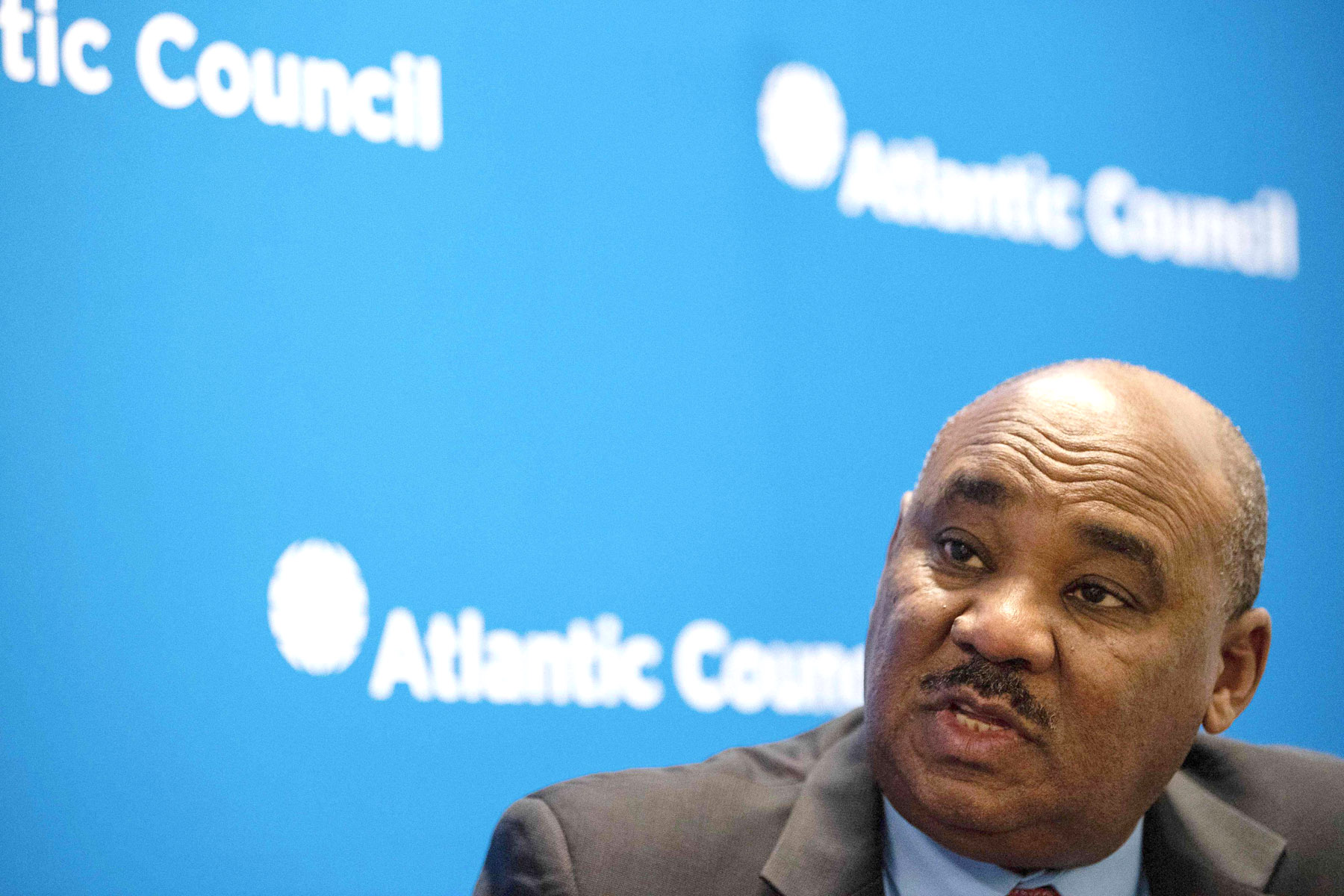 Sudanese Finance Minister Ibrahim al-Badawi speaks during an interview in Washington, October 22. (AFP)