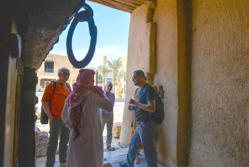 Polish tourists visit the King Abdulaziz Museum of Masmak in the old quarter of Riyadh, October 17. (AFP)