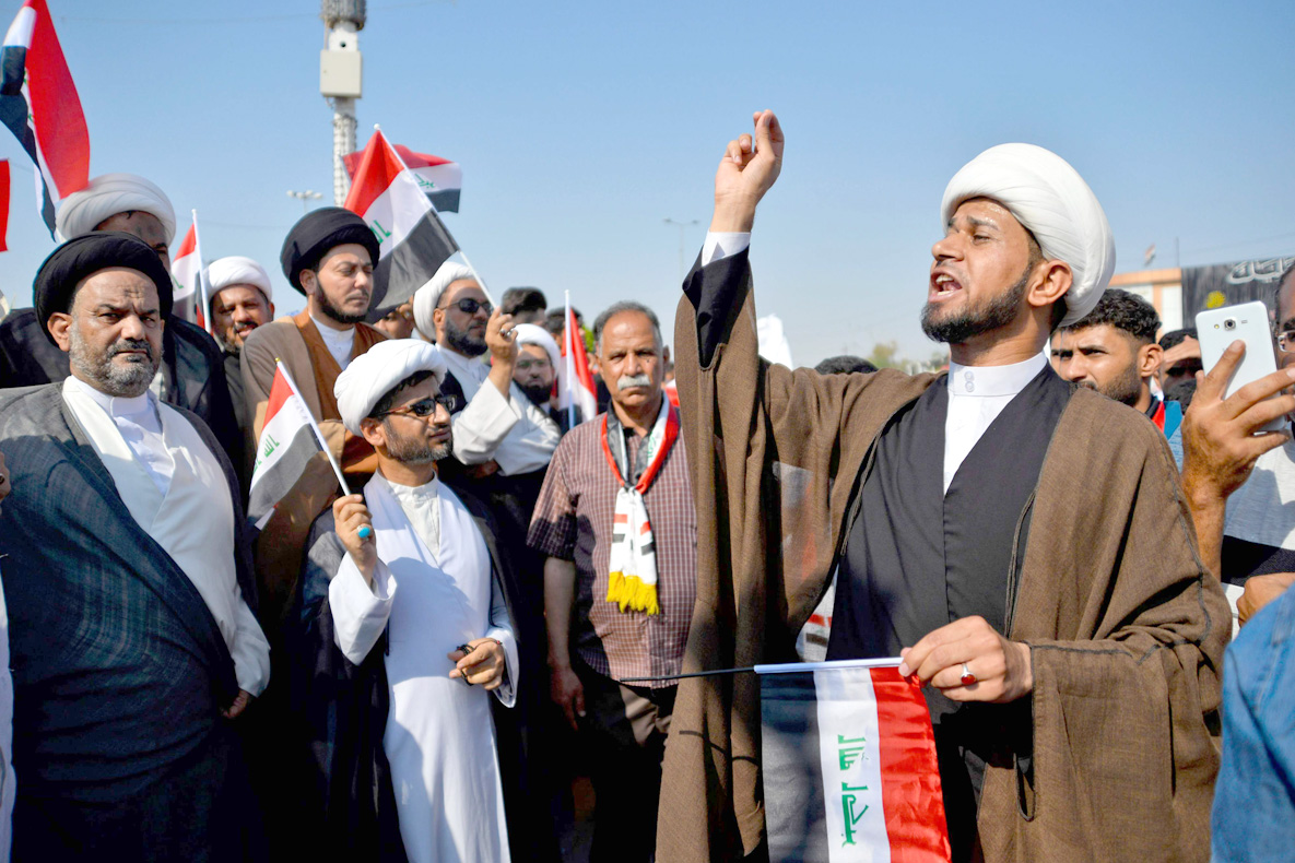 A change of heart. Shia clerics and religious students take part in anti-government protests in Najaf, Iraq, October 29. (AFP)