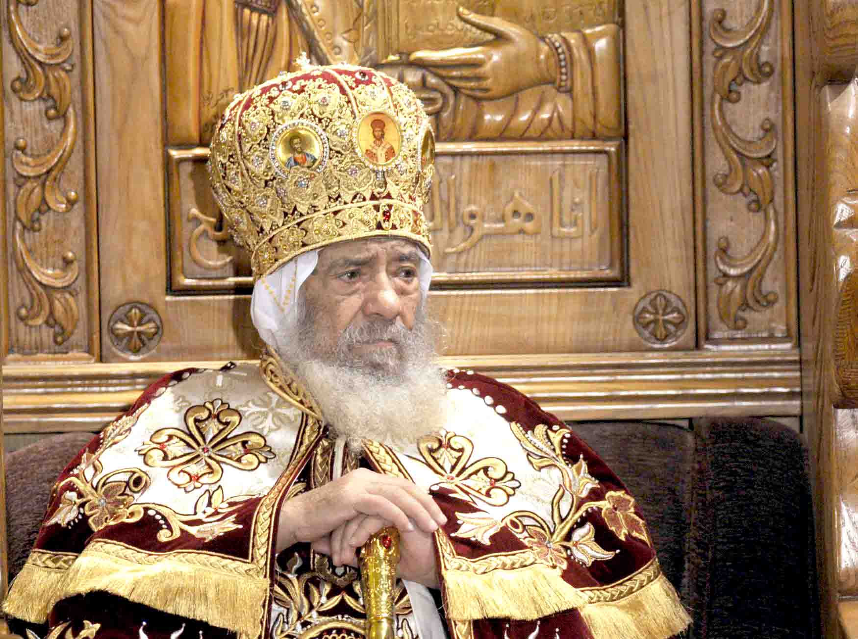 Controversial reign. A 2011 file picture shows Egypt's late Coptic Pope Shenouda III attending an Easter service in the main cathedral in Cairo.(Reuters)