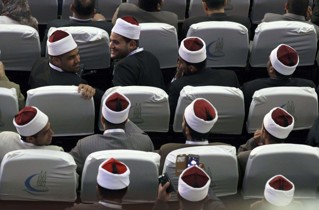 Al-Azhar scholars during a meeting in Cairo. (AP)