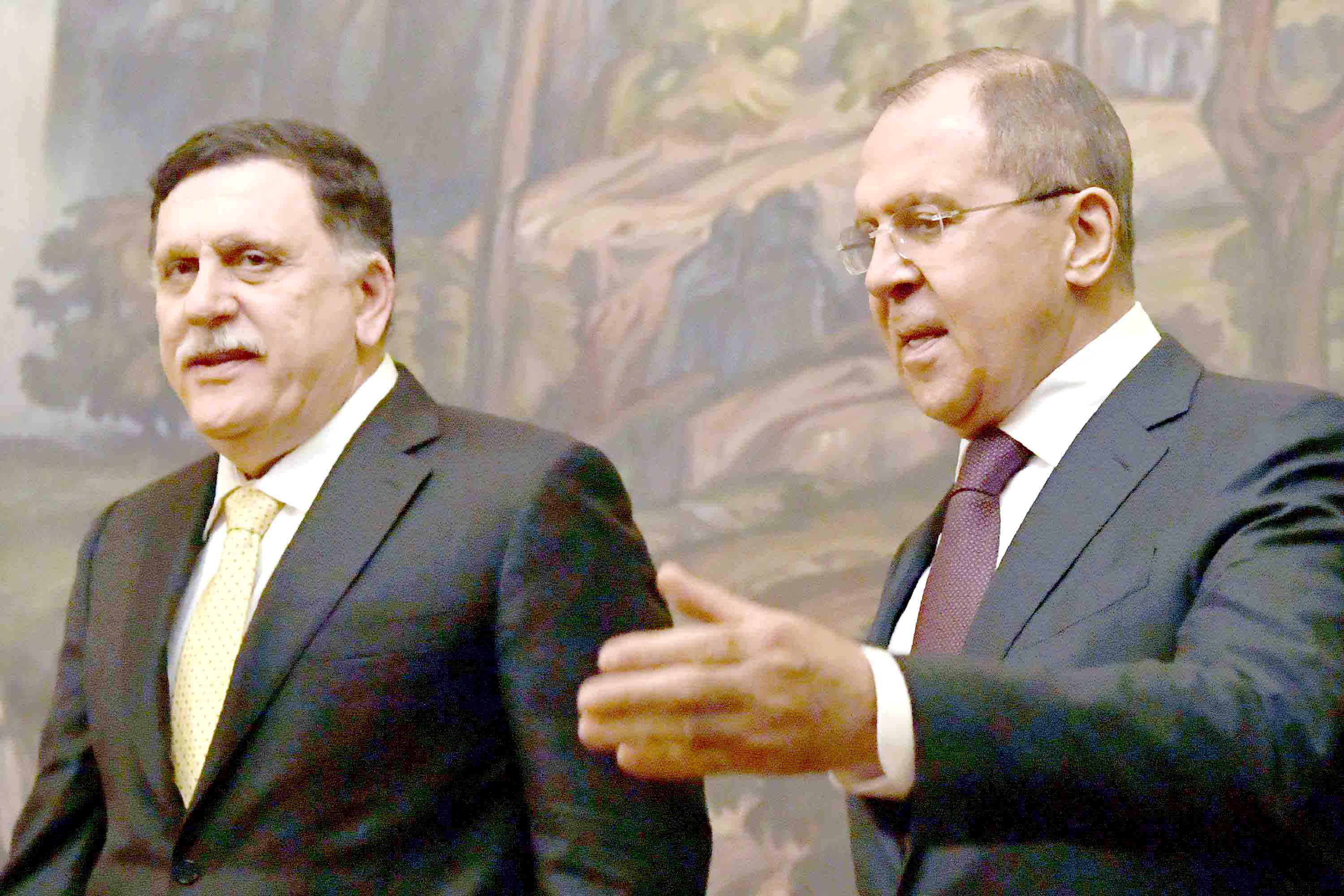 A balance between all actors. A 2017 file picture shows Russian Foreign Minister Sergei Lavrov (R) and head of the Tripoli-based Presidential Council Fayez al-Sarraj during a meeting in Moscow. (AFP)
