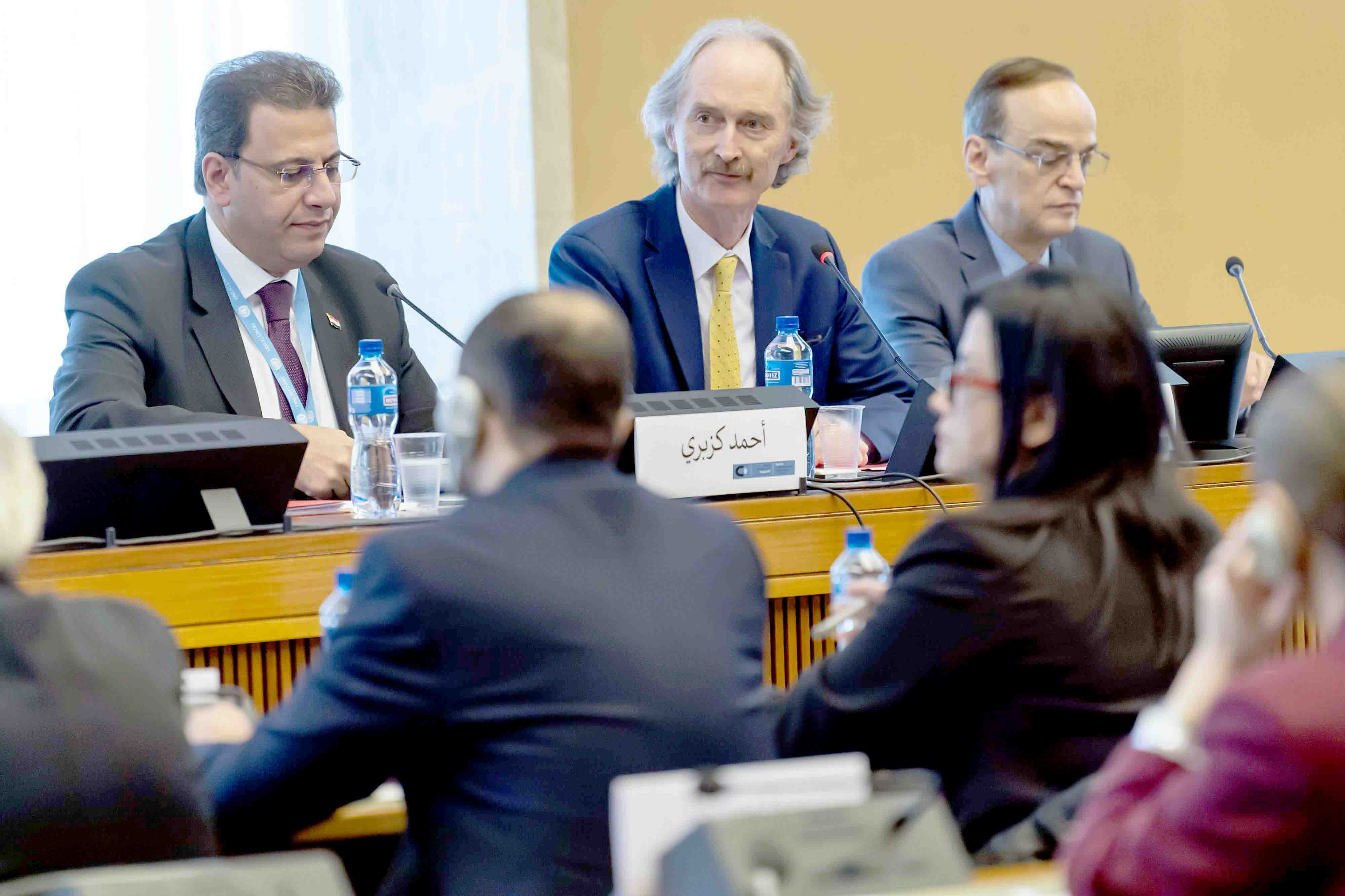 A Syrian-led process. UN Special Envoy to Syria Geir Pedersen (C), Syrian MP Ahmad Al-Kuzbari (L) and head of Opposition Syrian Negotiations Commission Hadi Al-Bahra attend a meeting of the Syria Constitutional Committee in Geneva, October 31.(AFP)