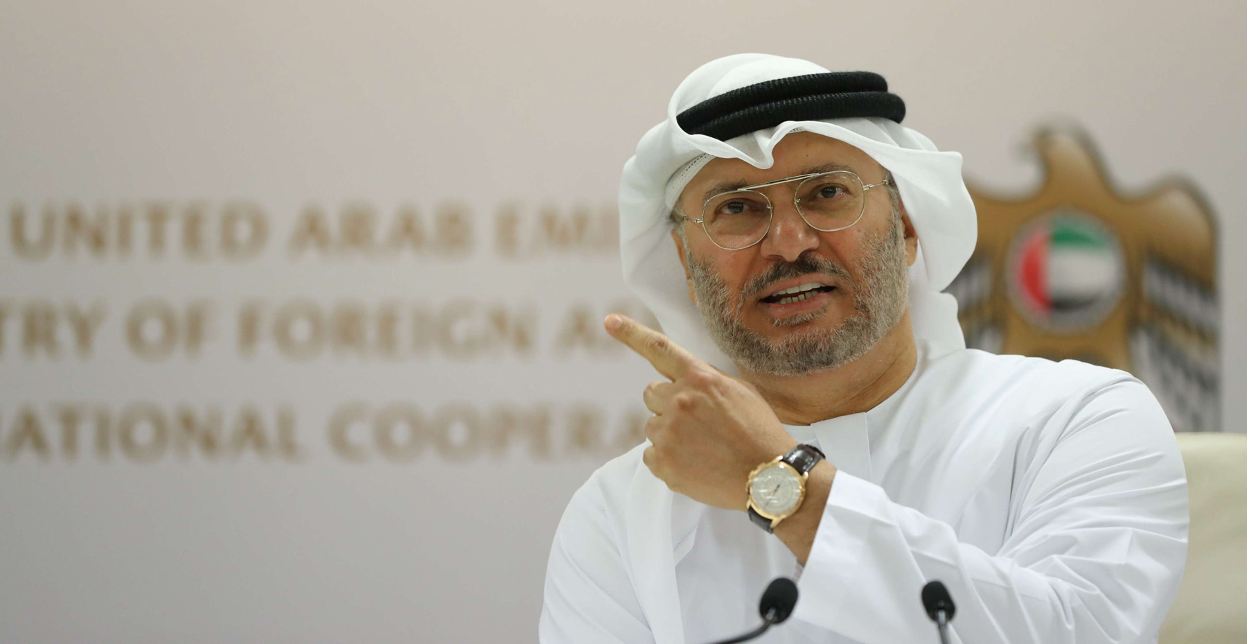 Emirati Minister of State for Foreign Affairs Anwar Gargash speaks during a press conference in Dubai. (AFP)