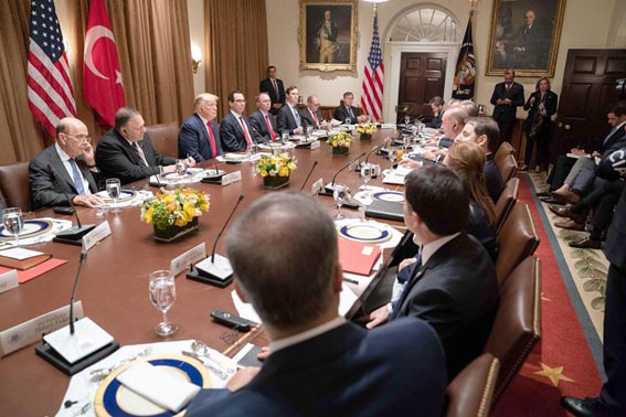US President Donald Trump meets with Turkish President Recep Tayyip Erdogan and his accompanying delegation at the White House, November 13. (DPA)