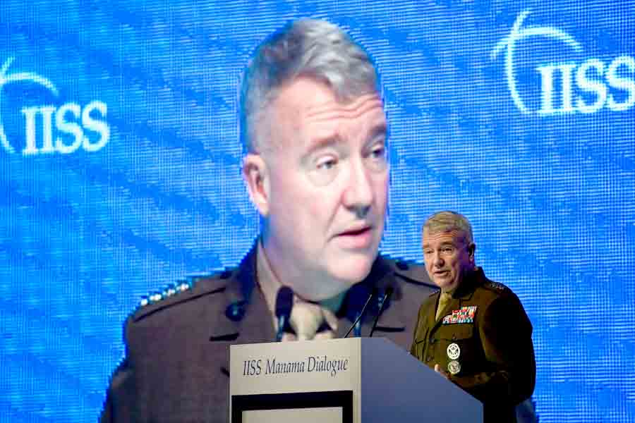 Implications of disengagement. The US Central Command Commander General Kenneth McKenzie speaks at the 15th Manama Dialogue, November 23.(AFP)