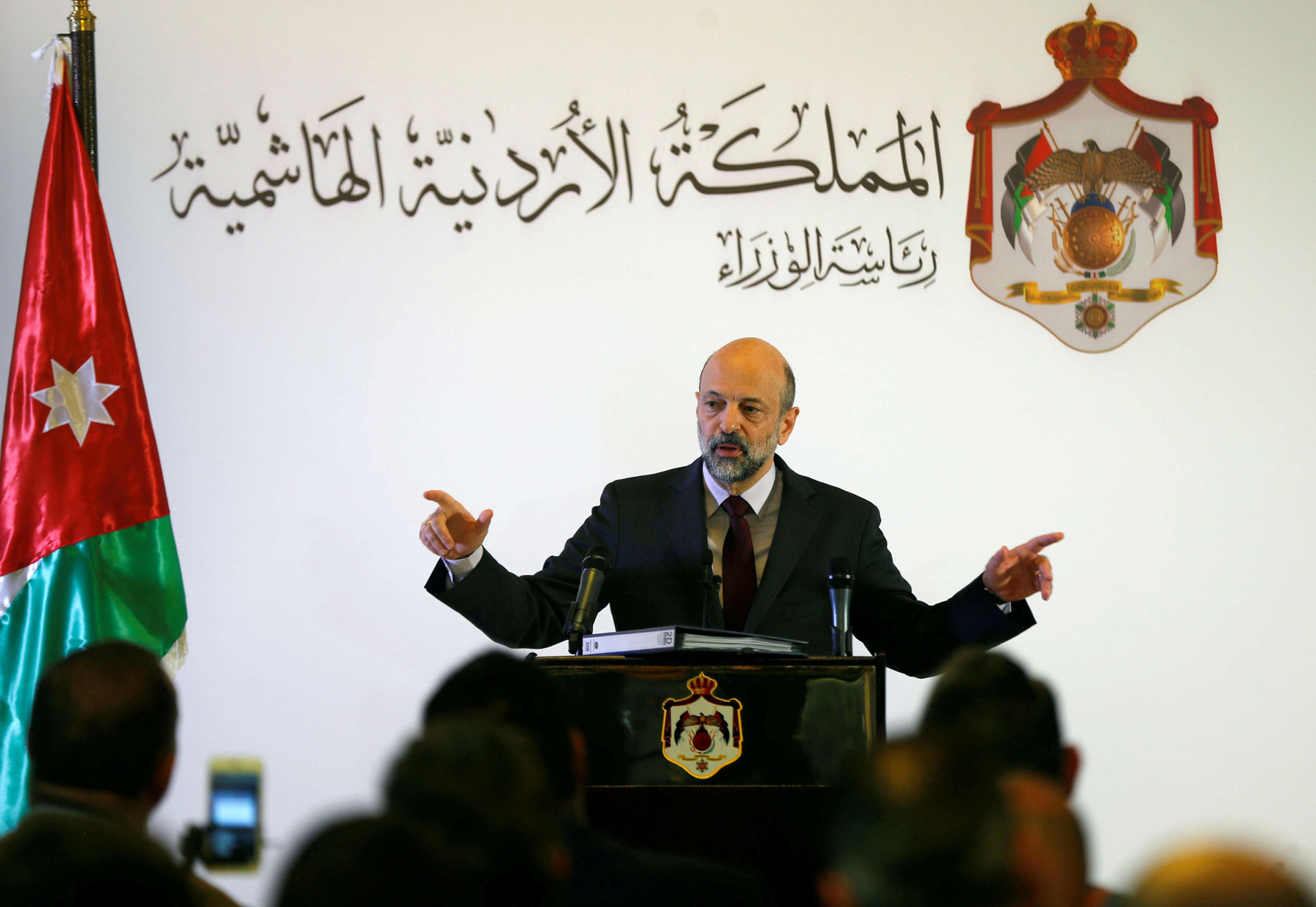Jordan's Prime Minister Omar al-Razzaz speaks to the media during a news conference in Amman. (Reuters)