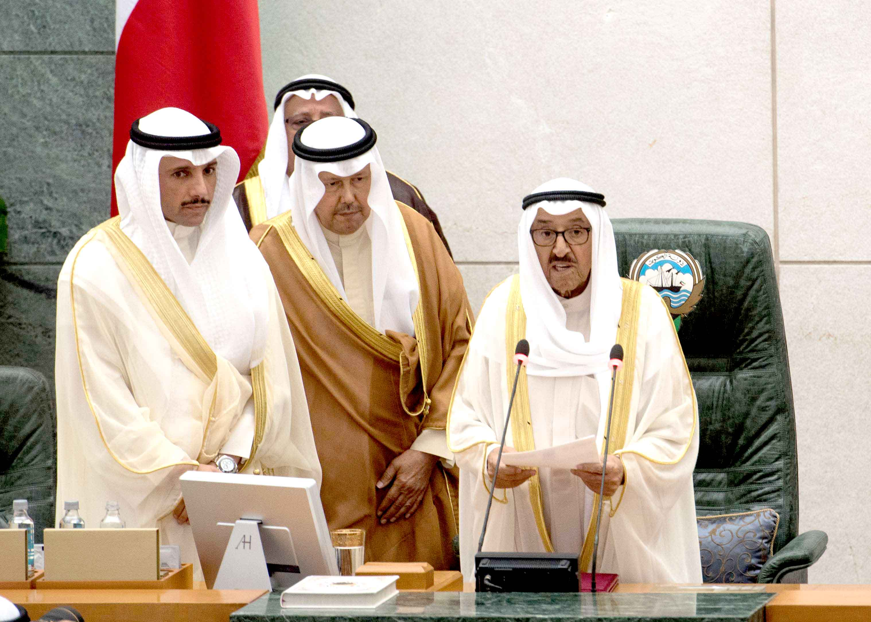 A voice of reason. Kuwaiti Emir Sheikh Sabah Ahmad al-Jaber al-Sabah (R) reads his opening speech at the start of the fourth ordinary session of the 15th Legislative Parliament in Kuwait City, October 29. (Reuters)