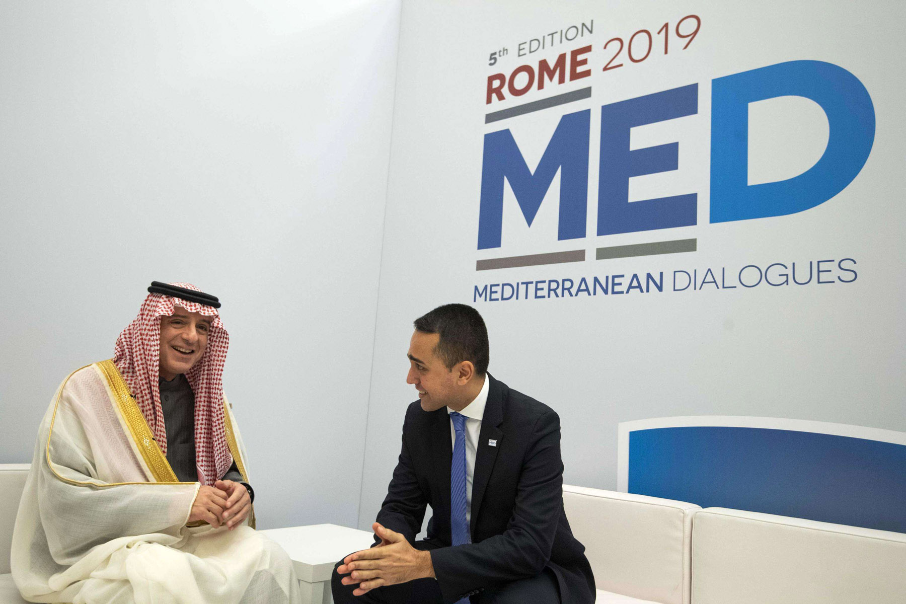 A note of optimism. Italian Foreign Minister Luigi Di Maio (R) meets with Saudi Saudi Minister of State for Foreign Affairs Adel al-Jubeir during the Rome Med 2019, December 6.                          (AP)