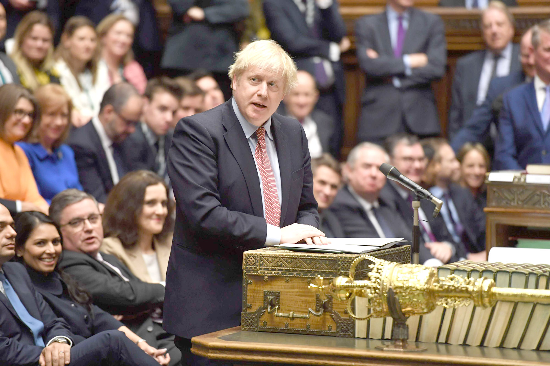 Britain's Prime Minister Boris Johnson speaking at the despatch box in the House of Commons in London, during the first sitting of Parliament since the general election, December 17. (AFP)