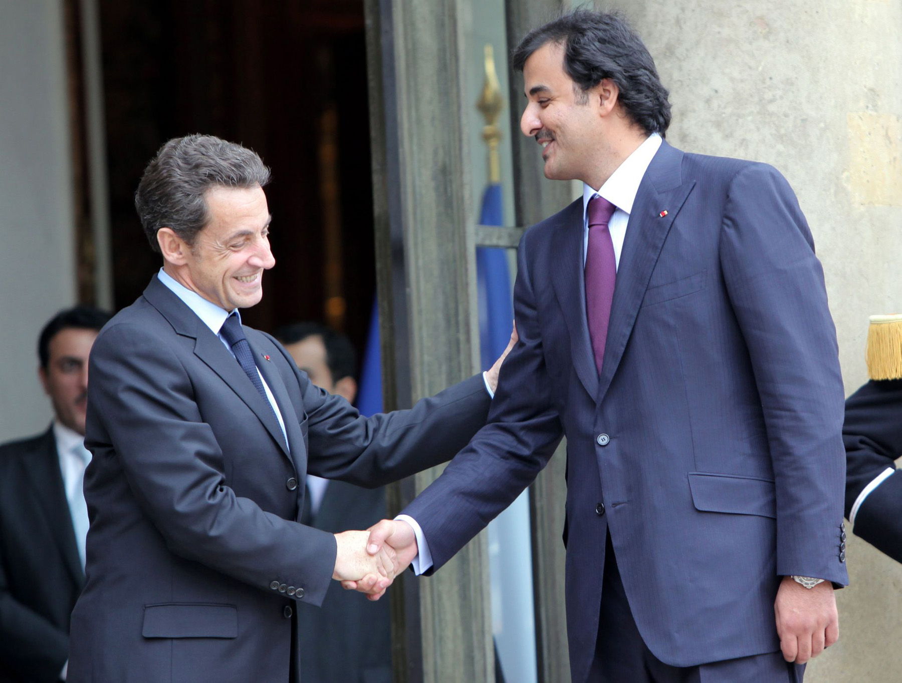 A trip down memory lane. A 2010 file picture shows then French President Nicolas Sarkozy (L) and Qatar's Sheikh Tamim bin Hamad al-Thani at the Elysee Palace in Paris. 	  	         	     (AFP)