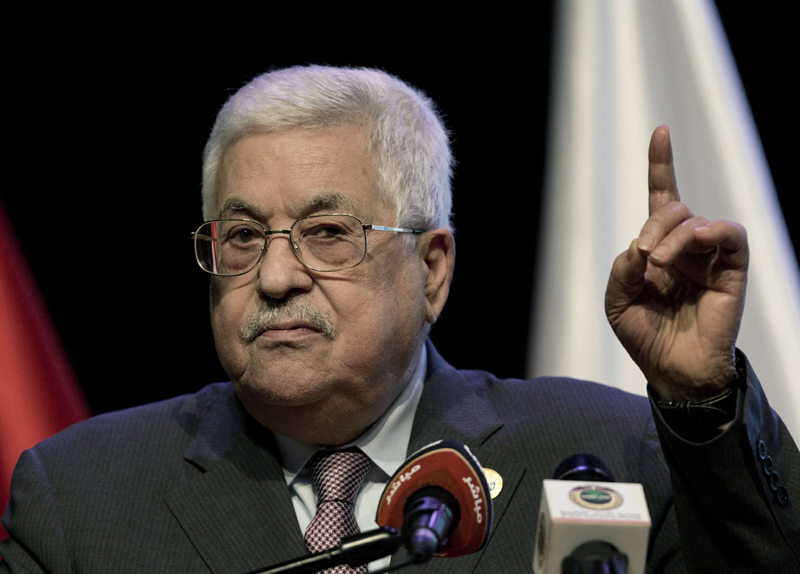 Palestinian Authority President Mahmoud speaks in the Israeli-occupied West Bank city of Ramallah, September 9. (AP)
