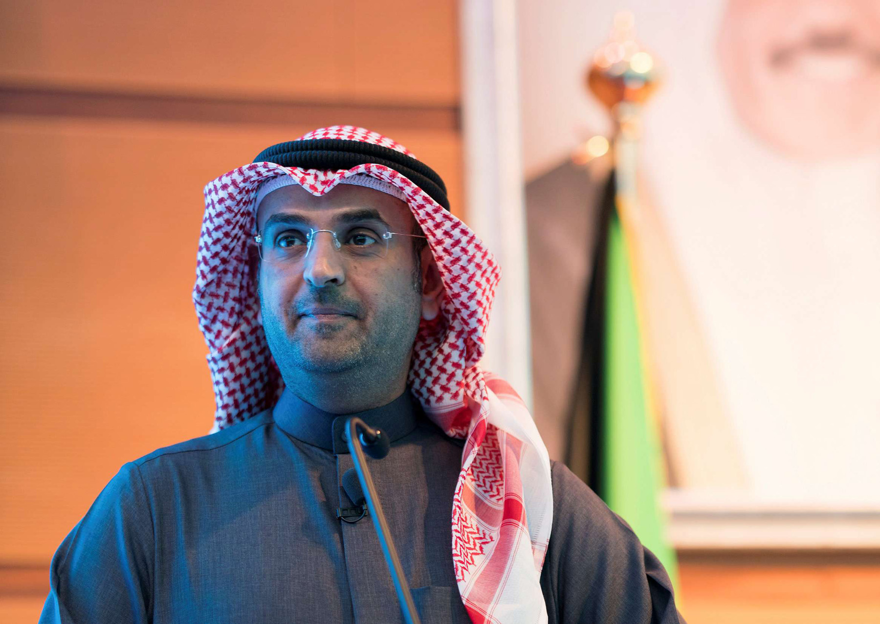 Kuwaiti Finance Minister Nayef al-Hajraf looks on at a conference to announce the Annual Budget of Kuwait for the fiscal year 2019/2020, last January. (Reuters)