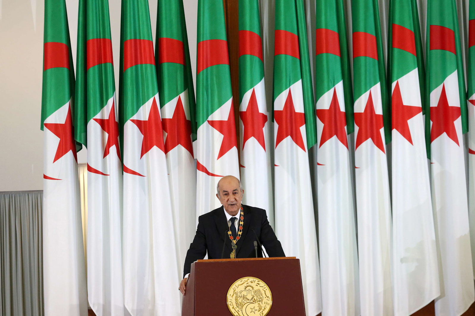 Newly elected Algerian President Abdelmadjid Tebboune delivers a speech during a swearing-in ceremony in Algiers, Algeria December 19, 2019. (Reuters)