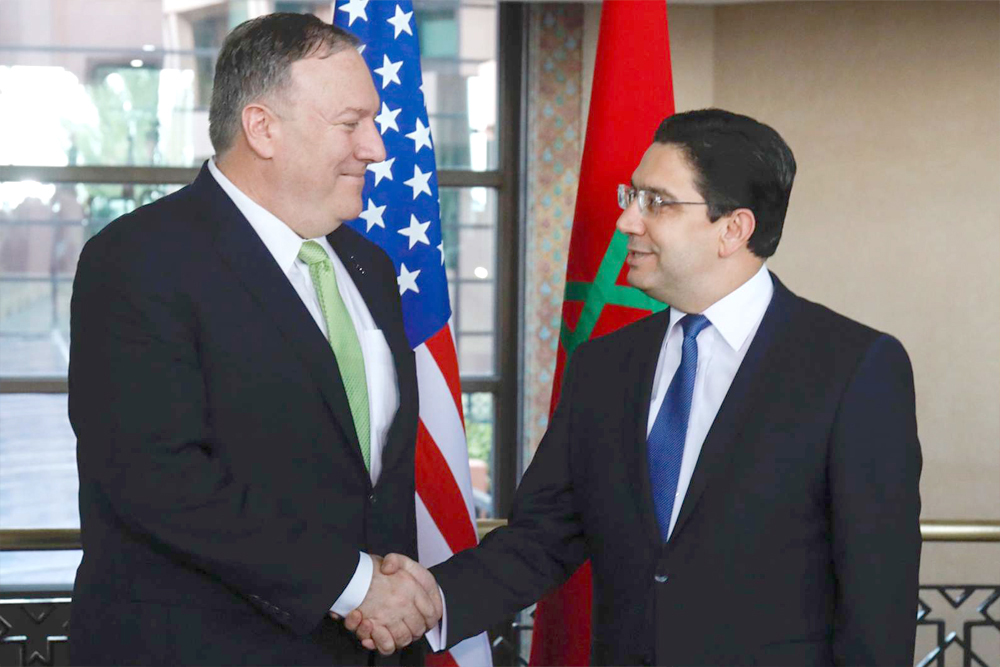 US Secretary of State Mike Pompeo (L) meets with Moroccan Foreign Minister Nasser Bourita in Rabat, December 5. (AFP)