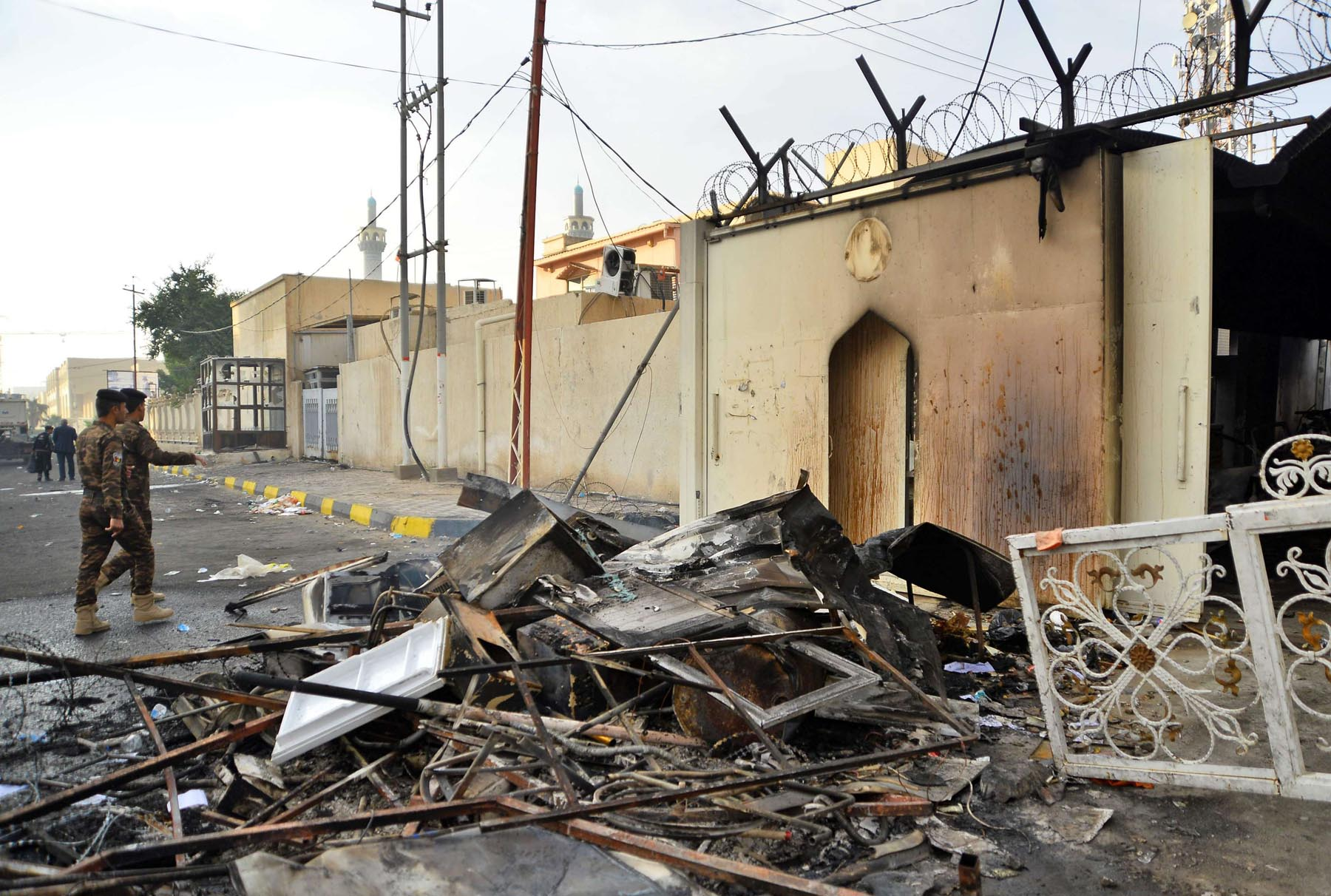 The burned Iranian consulate in the southern Iraqi holy city of Najaf, November 28. (AFP)