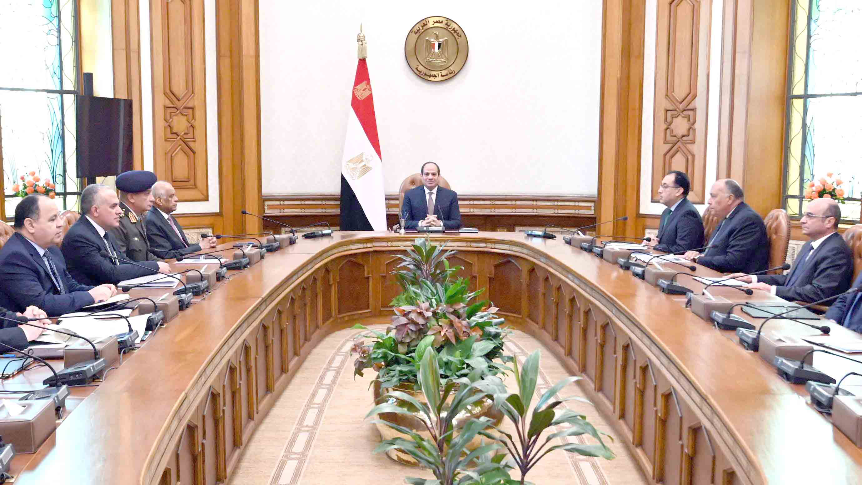 Egyptian President Abdel Fattah al-Sisi (C) presides over the National Security Council, which convened to discuss potential escalations arising from foreign military intervention in Libya, January 2.(Egyptian Presidency)