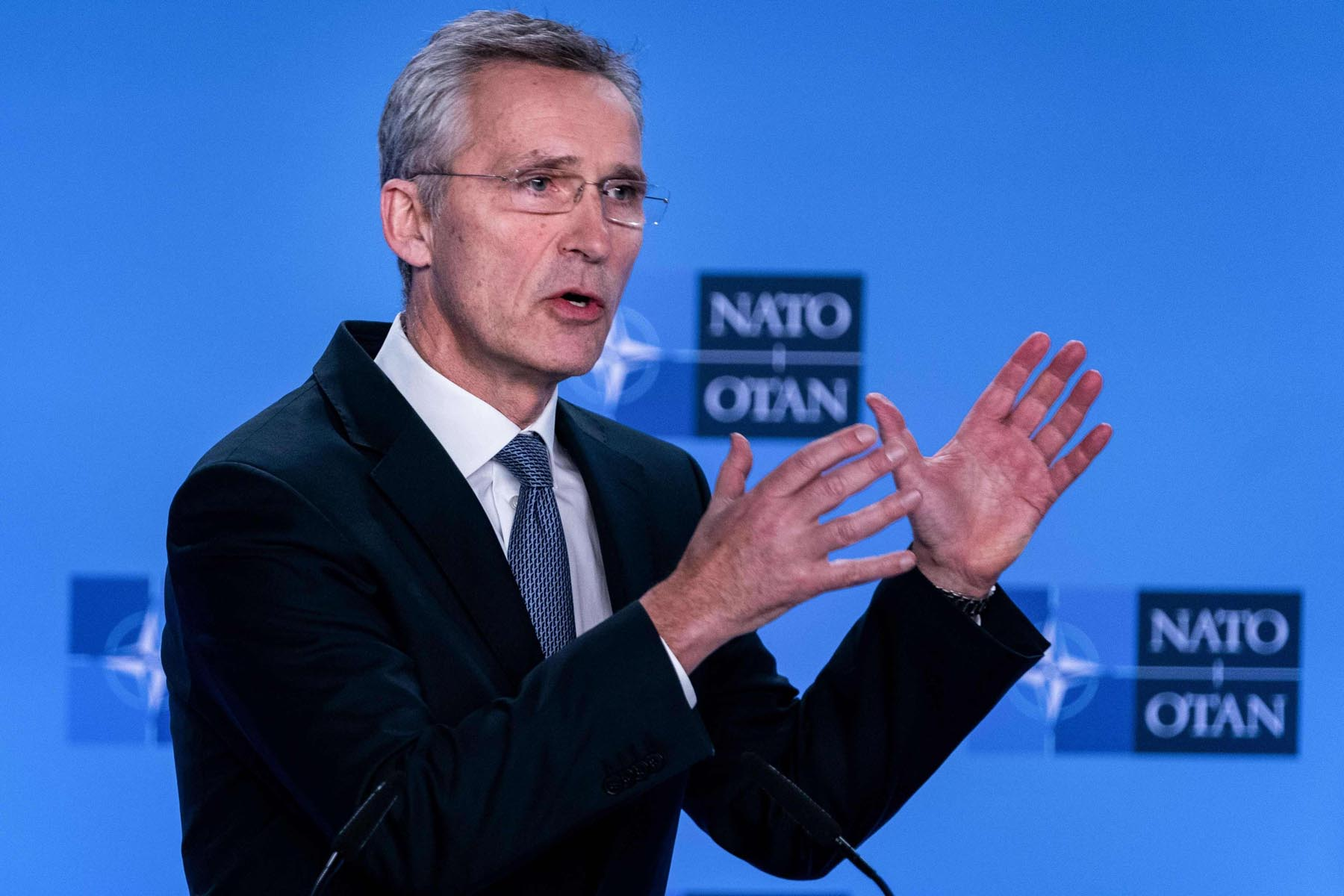 NATO Secretary-General Jens  Stoltenberg delivers a speech during a news conference at the end  of the North Atlantic Council meeting focused on the situation concerning Iran, at NATO Headquarters in Brussels, January 6.      (AFP)