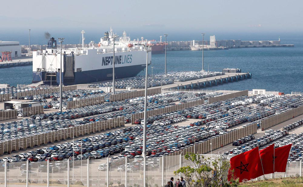 A ship moored at terminal I of the Tanger Med port in Tangiers. (AFP)