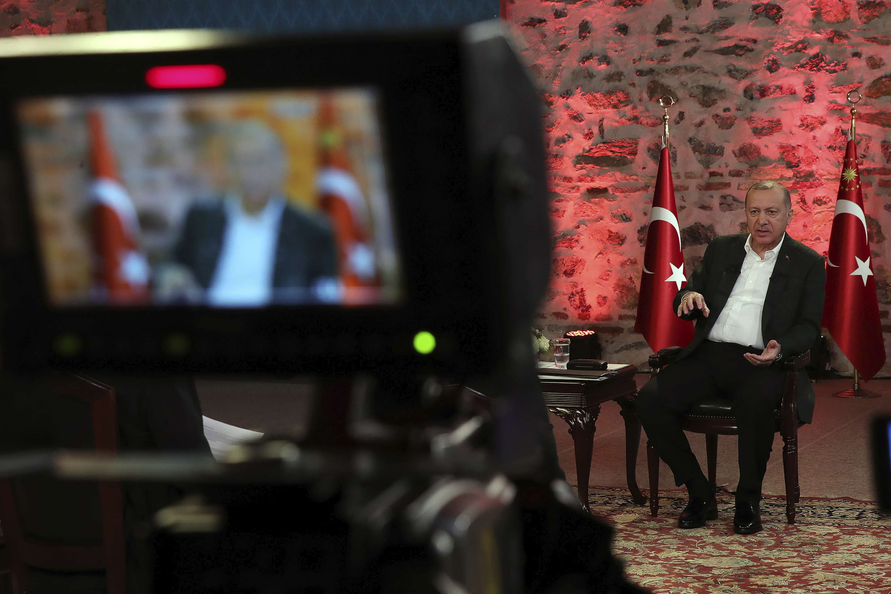 Turkey's President Recep Tayyip Erdogan speaks during a televised interview in Istanbul, January 5. (Turkish Presidential Press Service via AP)