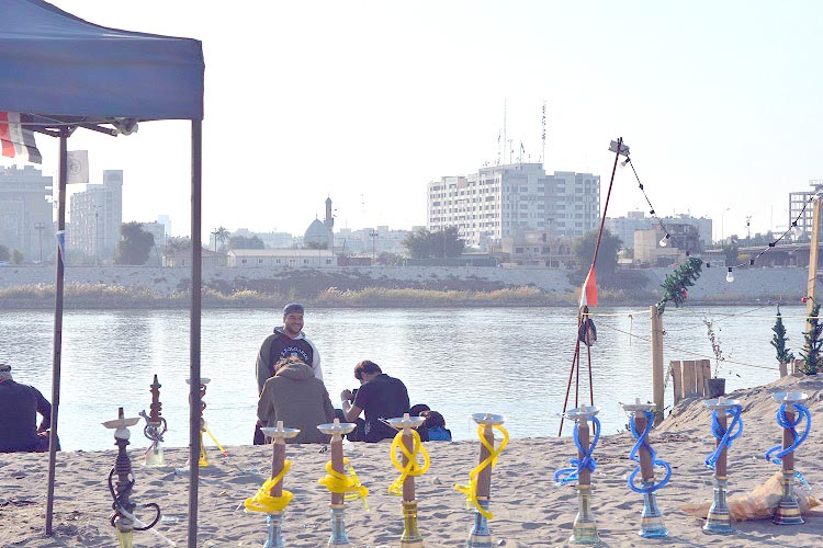 Protesters' haven. Tahrir Beach on the banks of the Tigris in Baghdad.  (Oumayma Omar)