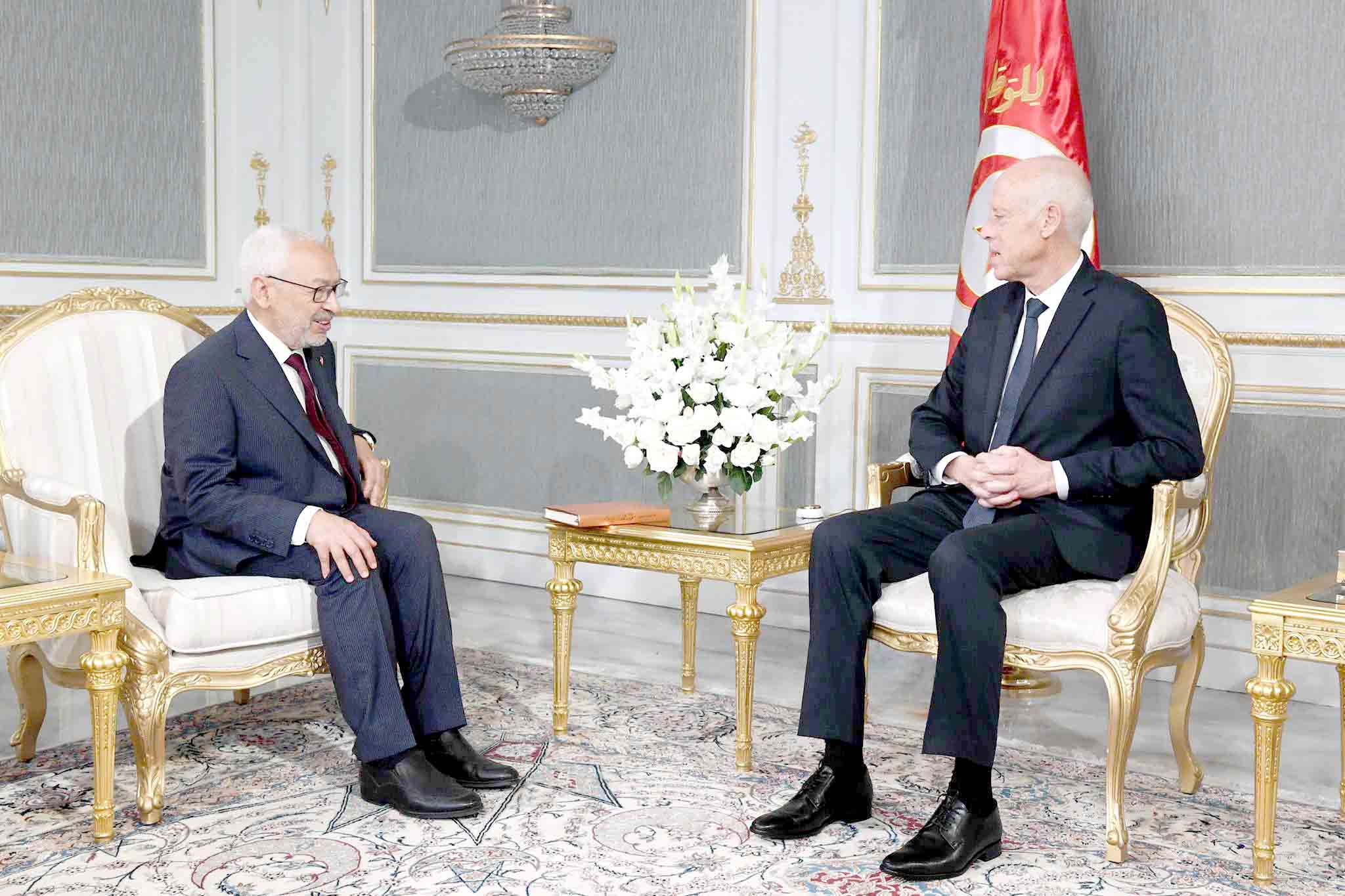 Tunisian President Kais Saied (R) meets with Rached Ghannouchi, head of the Ennahda Movement at the Carthage Palace, last October. (DPA)