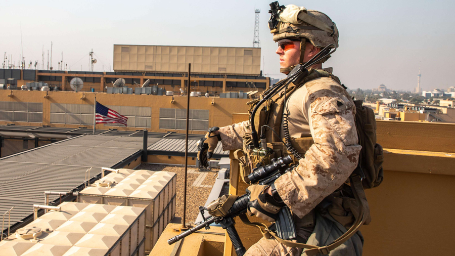 US Marines stand guard at the American Embassy Compound in Baghdad, January 3. (US Department of Defence via AFP)