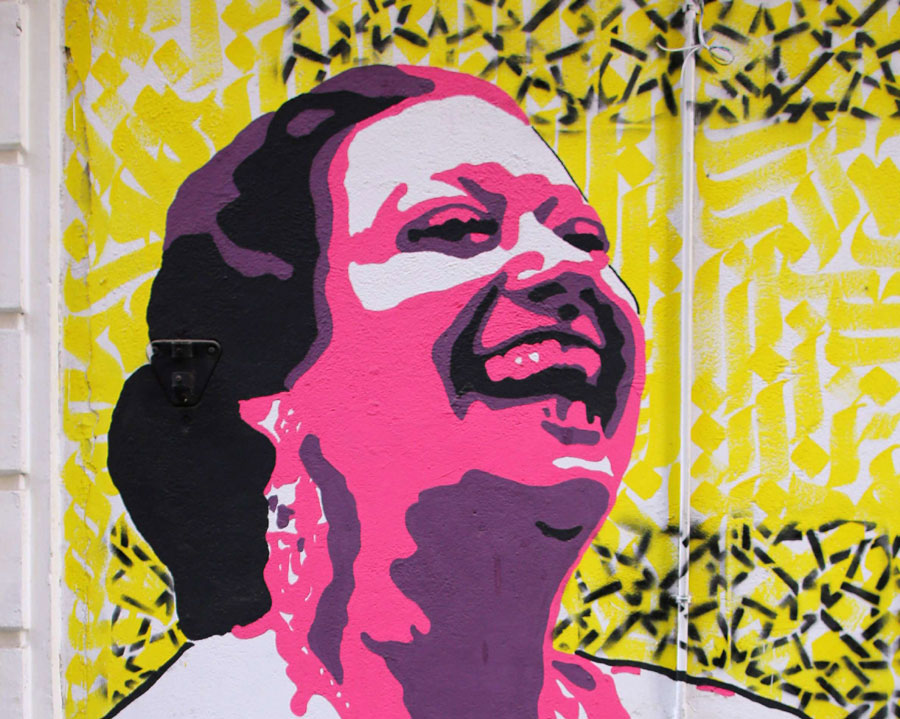 A mural of Egyptian singer Umm Kulthum is seen in Cairo. (Reuters)