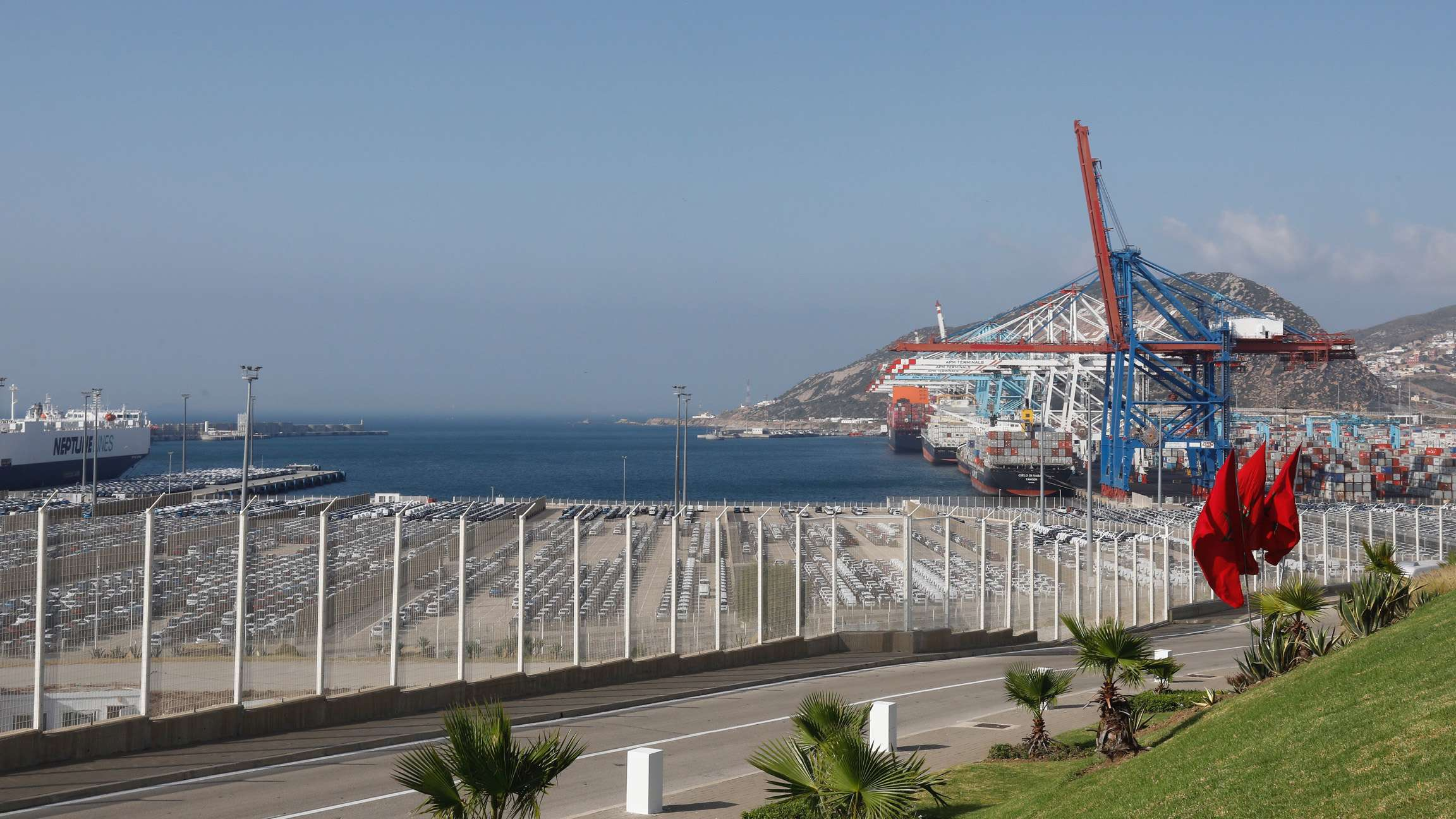 This picture taken on June 28, 2019 shows a view of terminal I of the Tanger Med port in the northern city of Tangiers on the Strait of Gibraltar. (AFP)