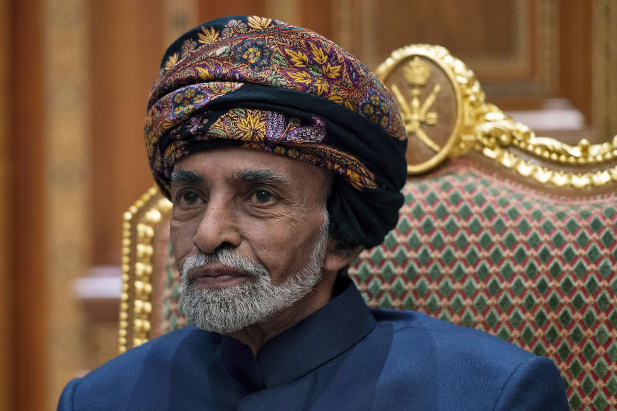 In this Monday, Jan. 14, 2019 file photo, Sultan of Oman Qaboos bin Said sits during a meeting with Secretary of State Mike Pompeo at the Beit Al Baraka Royal Palace in Muscat, Oman. (AP)