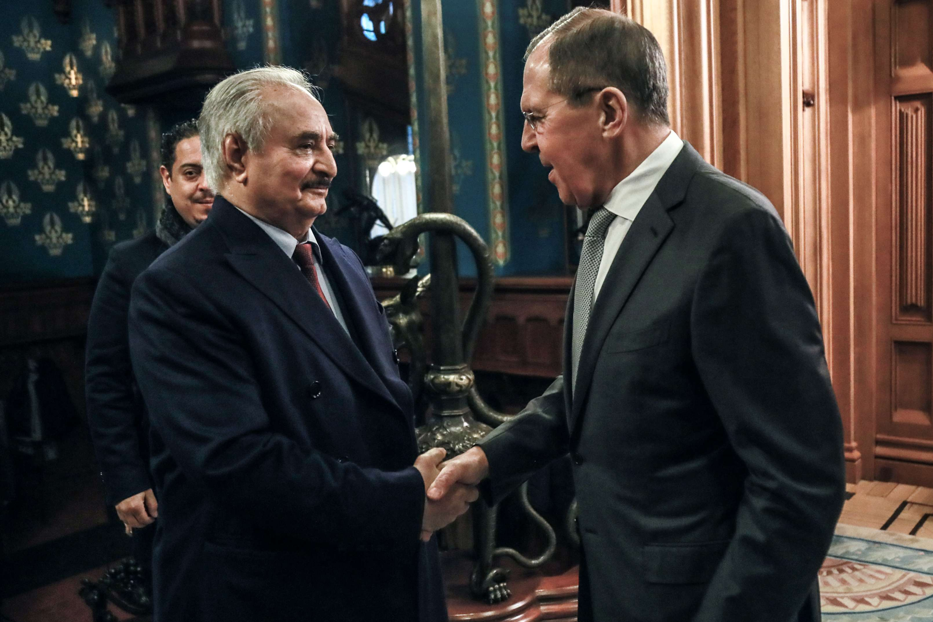 Russian Foreign Minister Sergey Lavrov (R) receives Libyan strongman Khalifa Haftar, leader of the self-styled Libyan National Army (LNA) ahead of the Russian-Turkish brokered ceasefire talks in Moscow, Russia, January 13, 2020. (DPA)