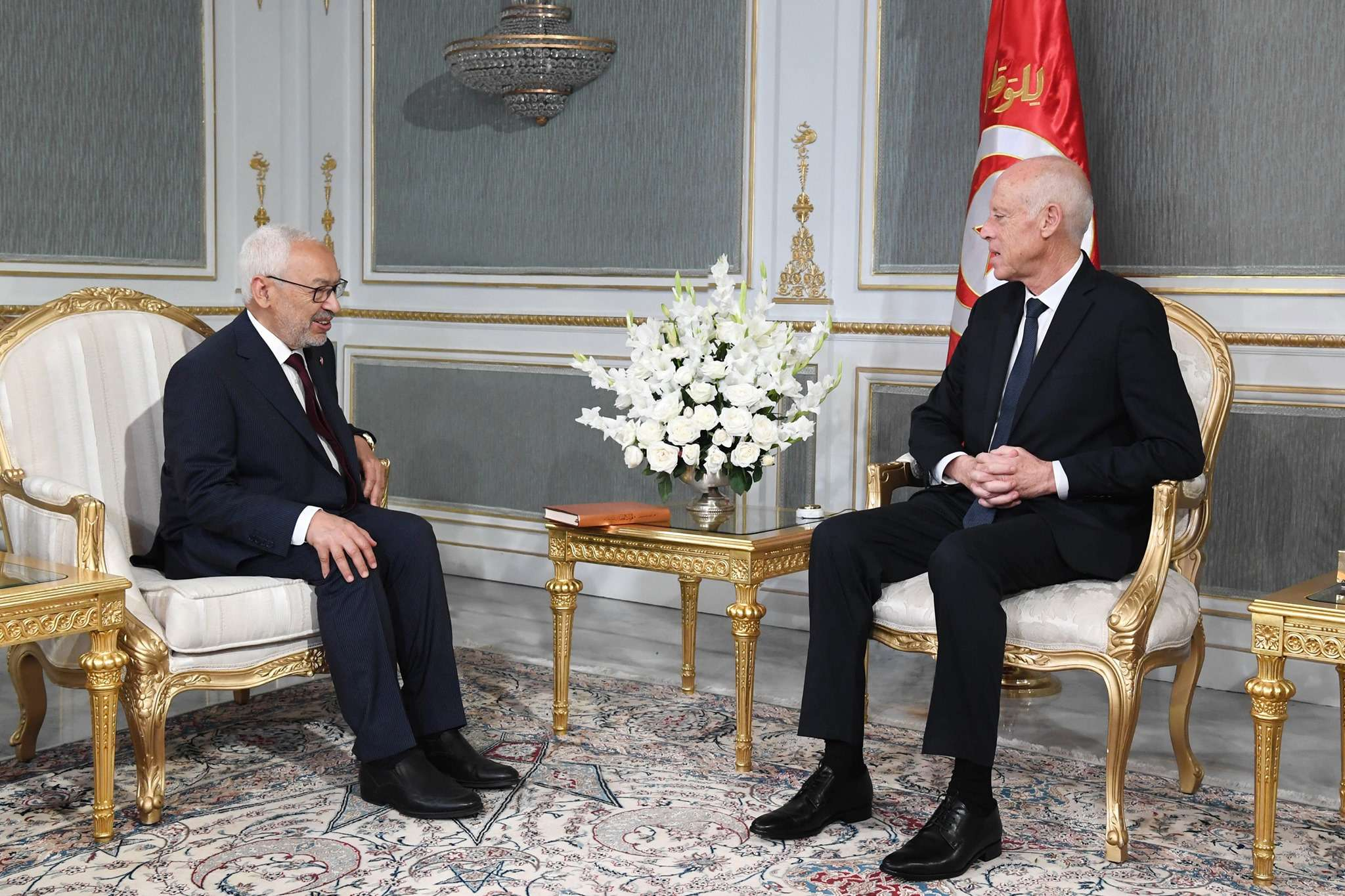 Calling the shots. Tunisian President Kais Saied (R) meets with Rached Ghannouchi, head of Ennahda movement at the Carthage Palace, last October. (DPA)