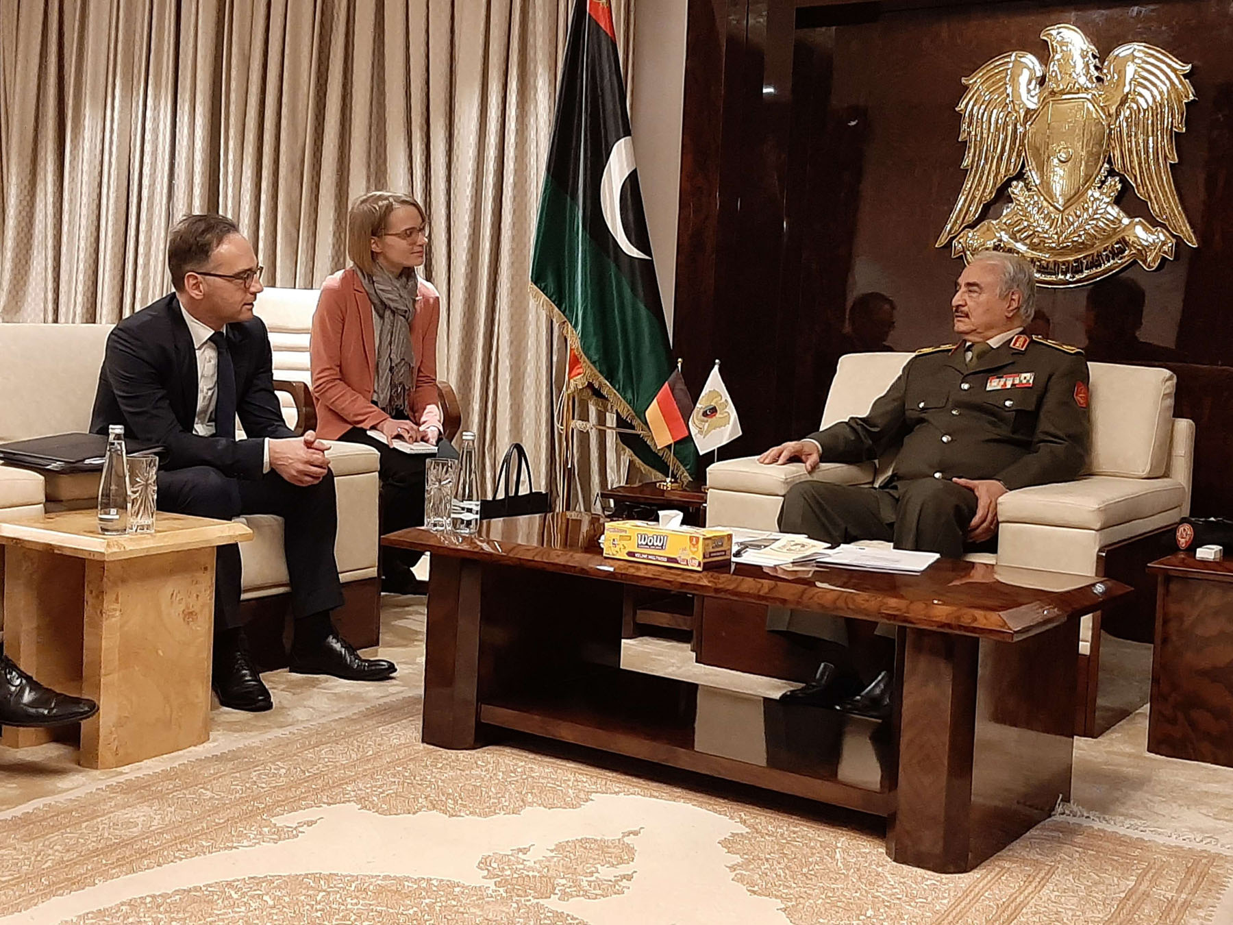 Libyan National Army Field-Marshal Khalifa Haftar (R) meets with German Foreign Minister Heiko Maas (L) at Haftar's headquarters in north-eastern Libya, January 16. (DPA)