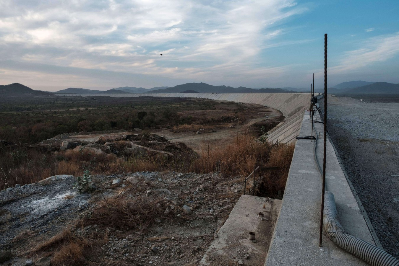 In this file photo taken on December 27, 2019 a general view of the Saddle Dam, part of the Grand Ethiopian Renaissance Dam (GERD), near Guba in Ethiopia. (AFP)