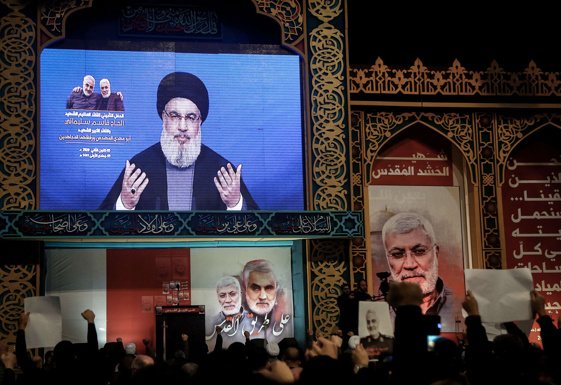 Hezbollah Secretary-General Hassan Nasrallah delivers a televised speech in Beirut, January 5. (DPA)