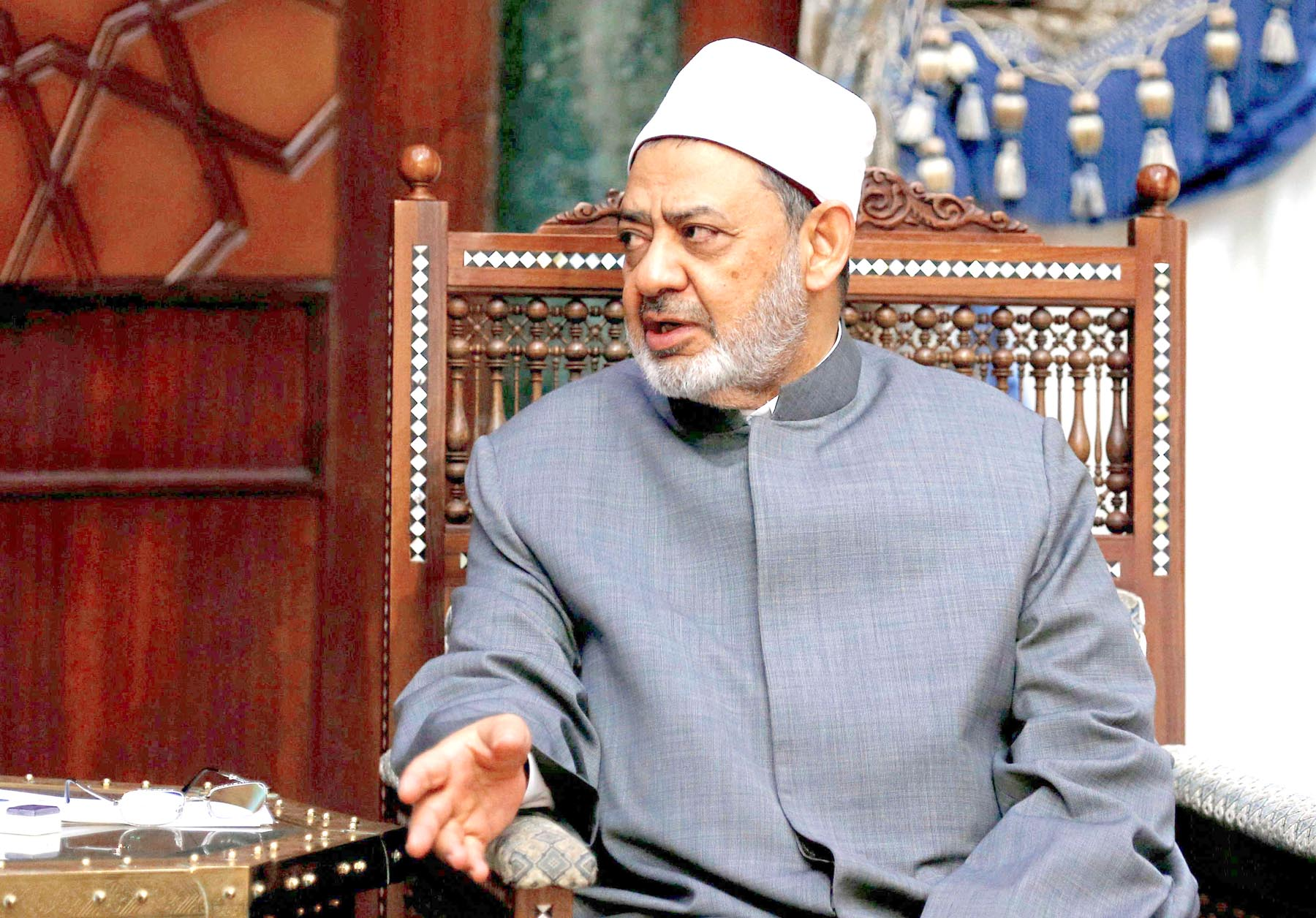 On the defensive. Al-Azhar Grand Imam Ahmed al-Tayeb speaks in Cairo.    (Reuters)