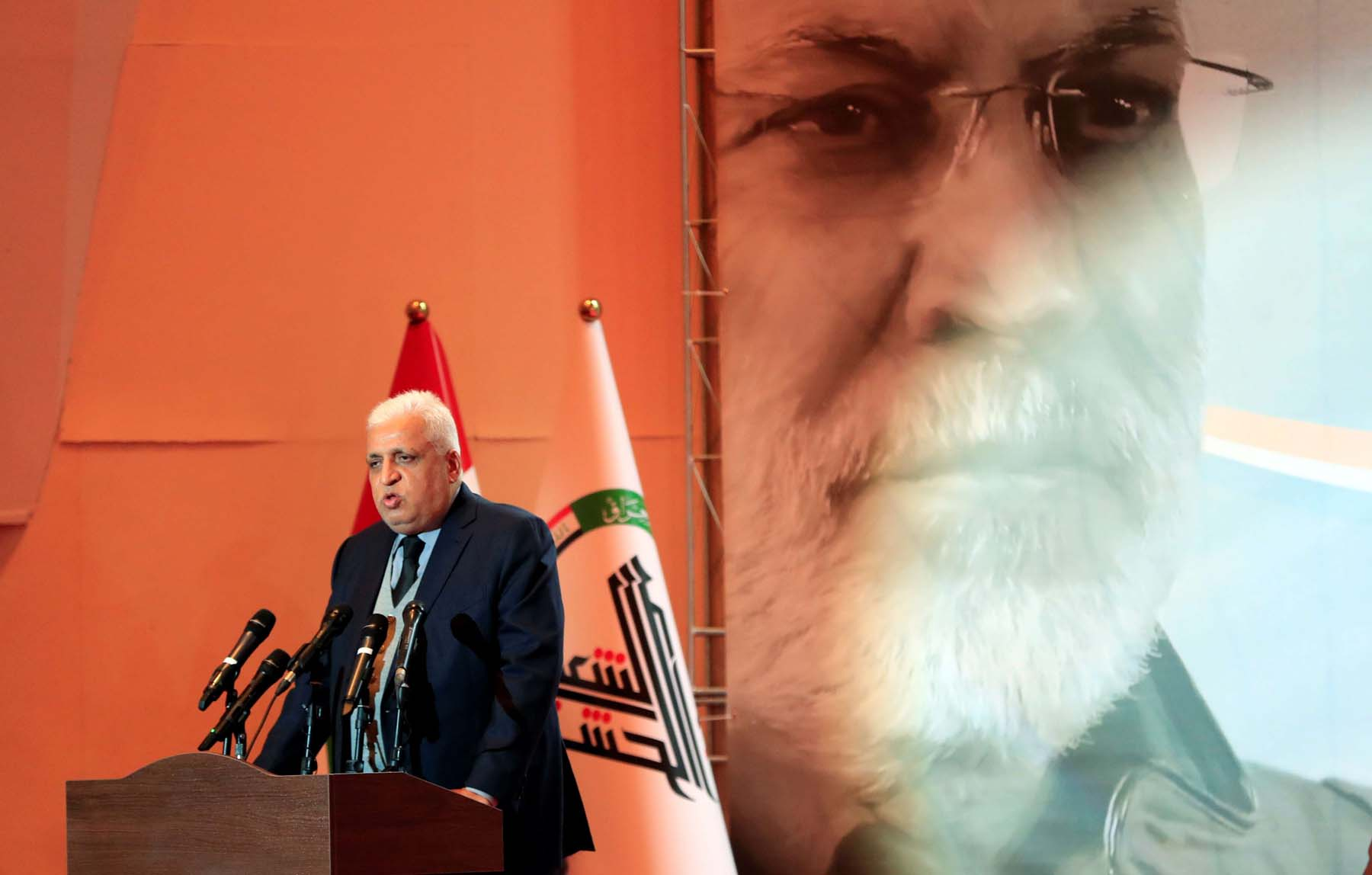 Head of the Popular Mobilisation Forces Faleh al-Fayyad speaks in Baghdad, February 11. (Reuters)
