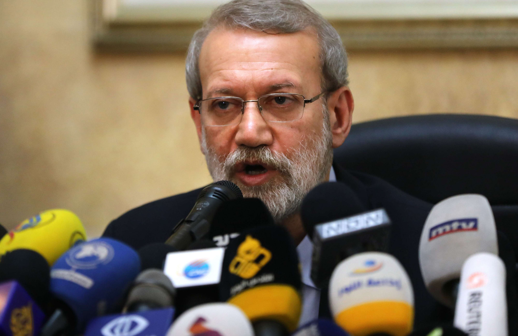 Iranian parliament Speaker Ali Larijani speaks during a news conference at the Iranian Embassy in Beirut, February 17. (AFP)