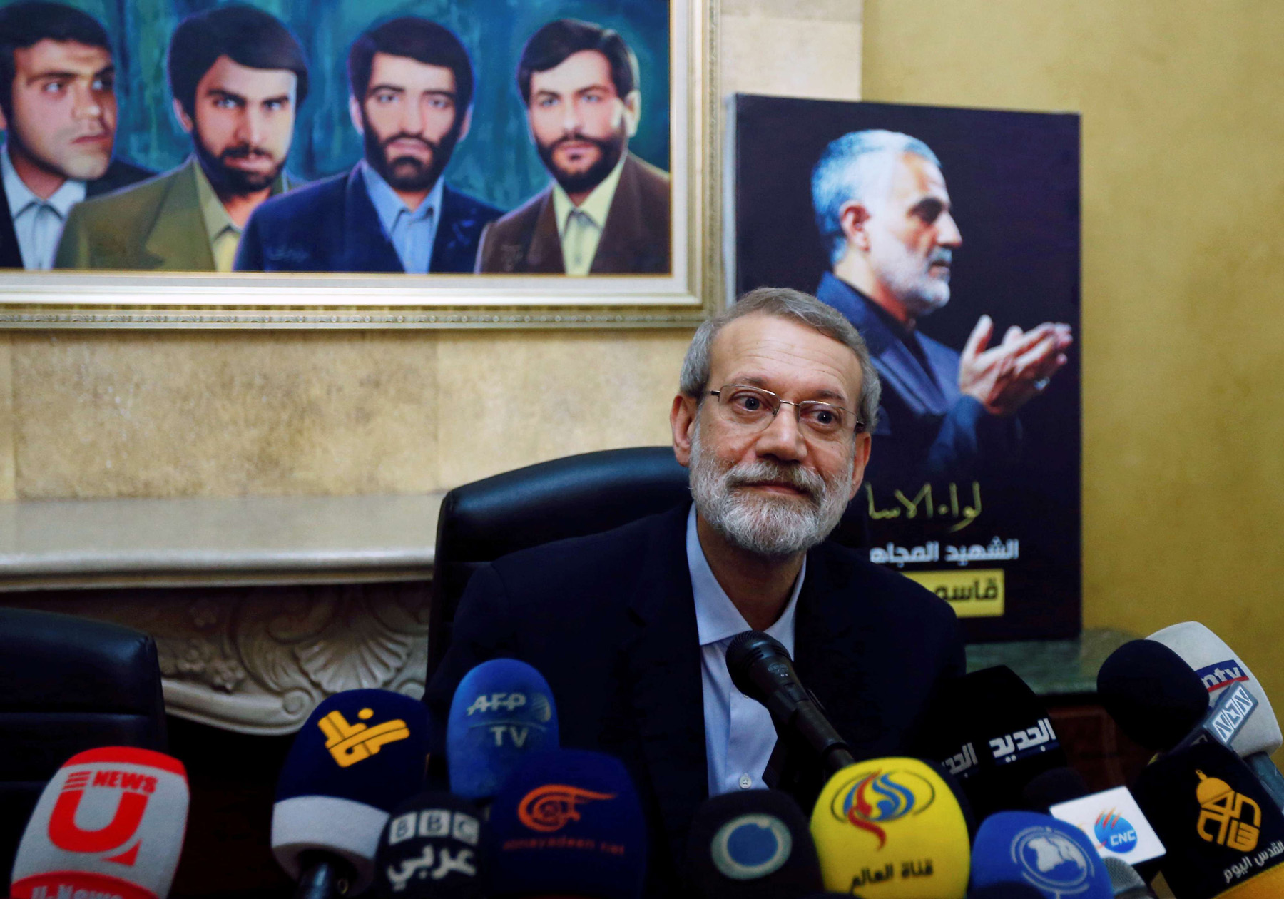 Iranian parliament speaker Ali Larijani attends a news conference at the Iranian embassy in Beirut's southern suburbs, Februray 17. (Reuters)