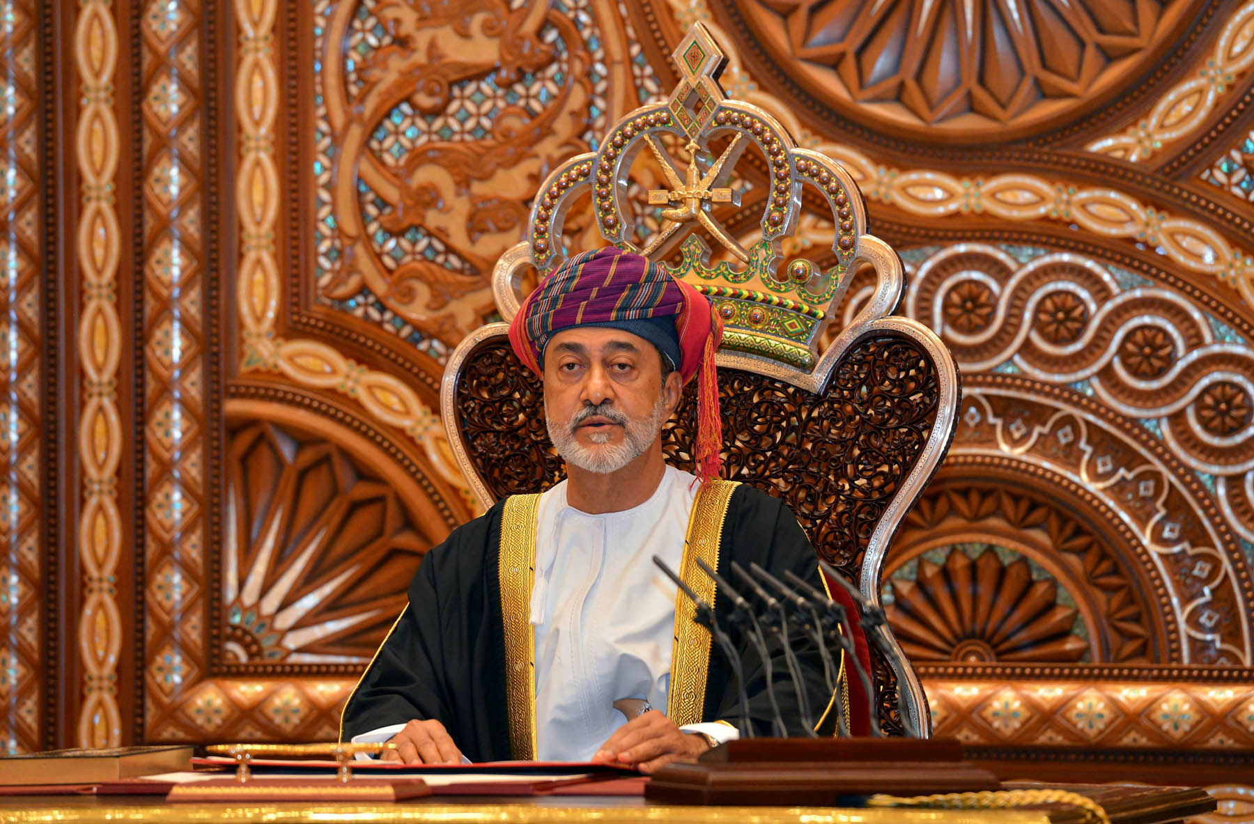 Sultan Haitham bin Tariq al-Said gives a speech after being sworn in before the royal family council in Muscat, Oman January 11. (Reuters)