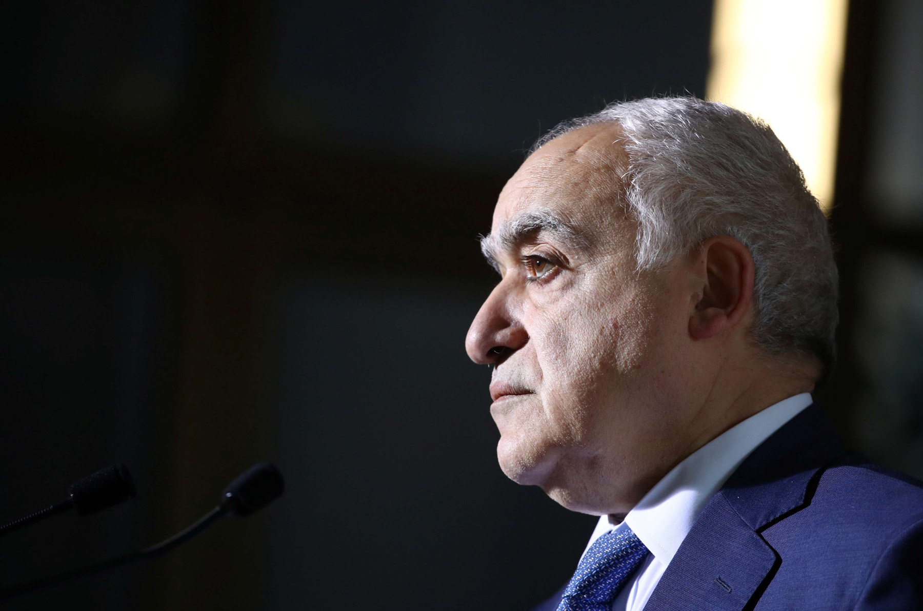 UN Envoy for Libya Ghassan Salame holds a news briefing after a meeting of the 5+5 Libyan Joint Military Commission in Geneva, Switzerland, February 6. (Reuters)