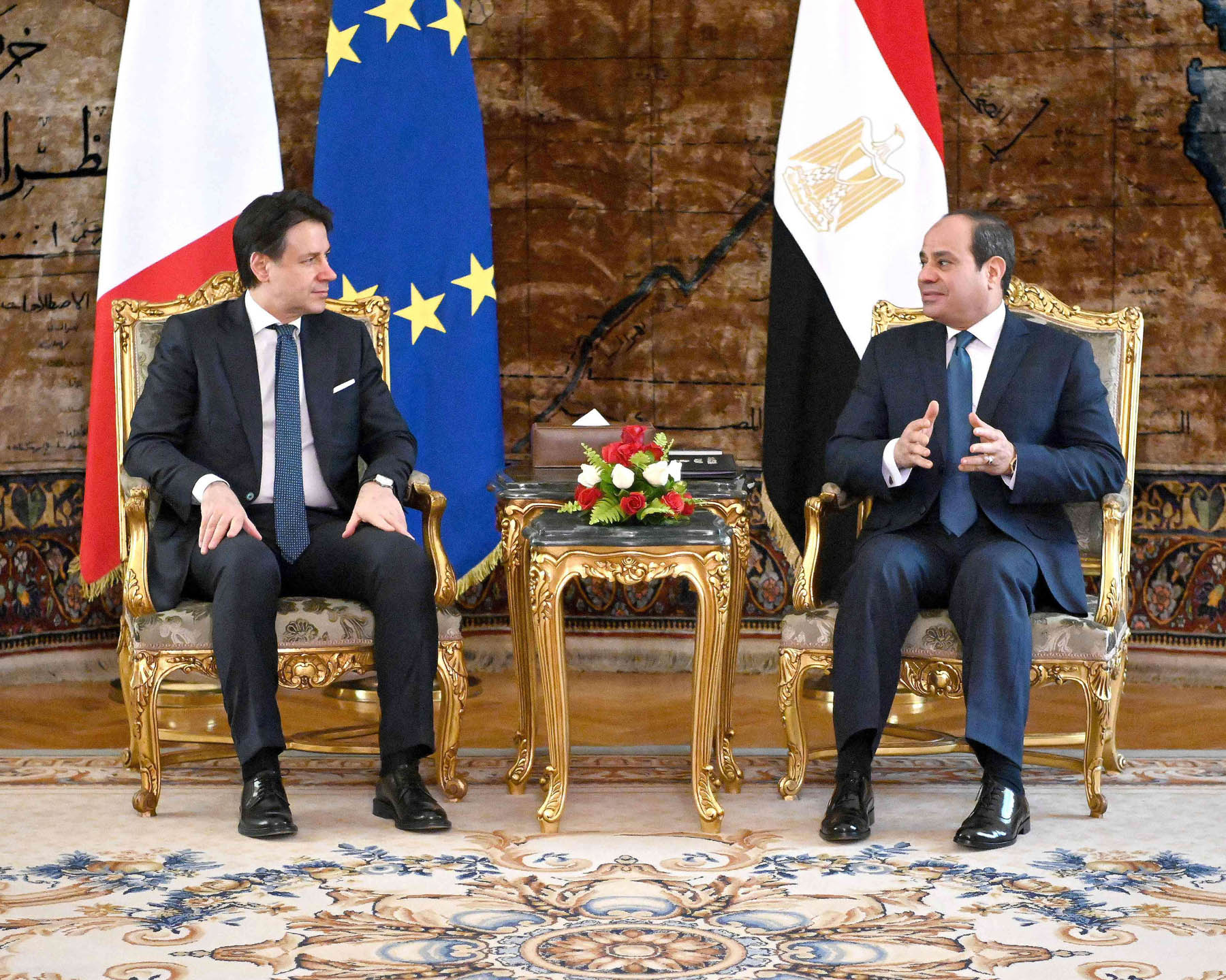 A handout picture released by the Egyptian Presidency shows Egyptian President Abdel Fattah al-Sisi (R) during his meeting Italian Prime Minister Giuseppe Conti at the presidential palace in the Egyptian capital Cairo on January 14. (AFP)