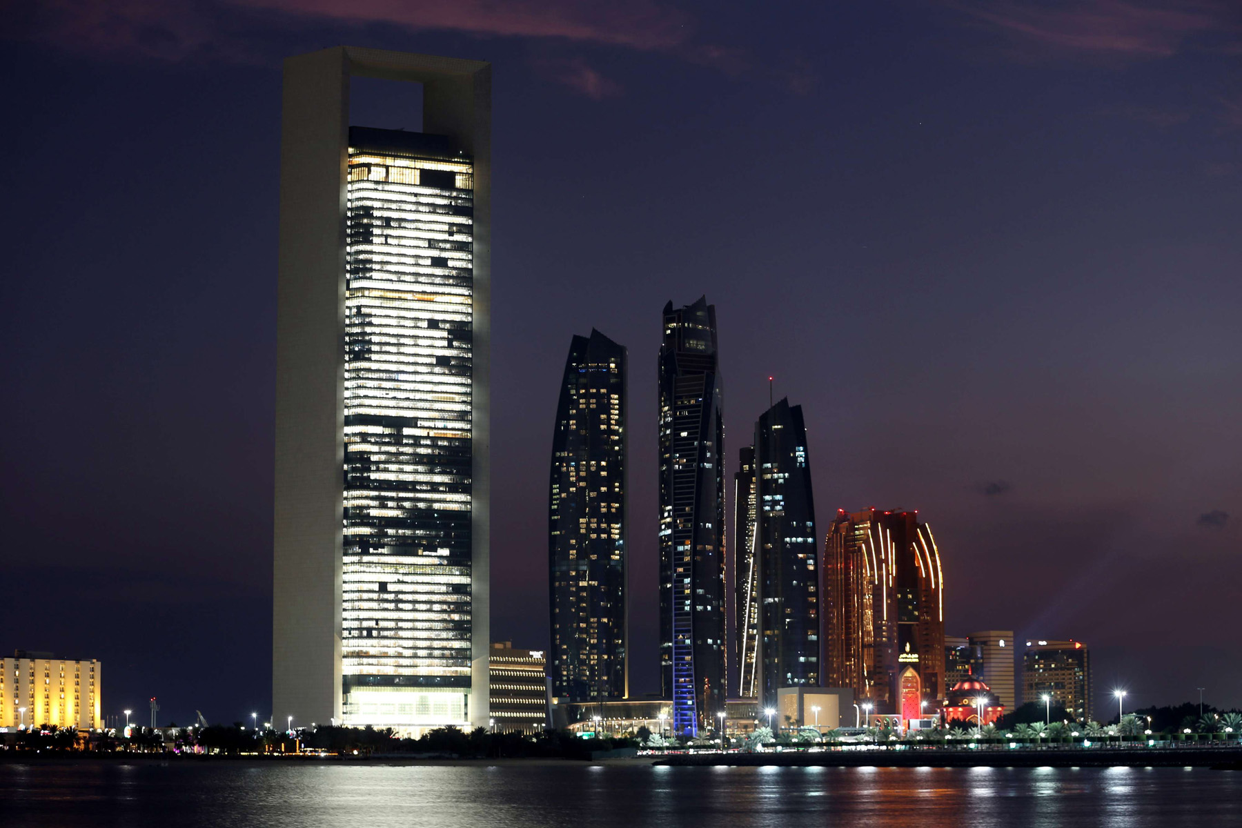 A General view of the ADNOC headquarters (L) and Emirates Towers (R) in Abu Dhabi. (Reuters)