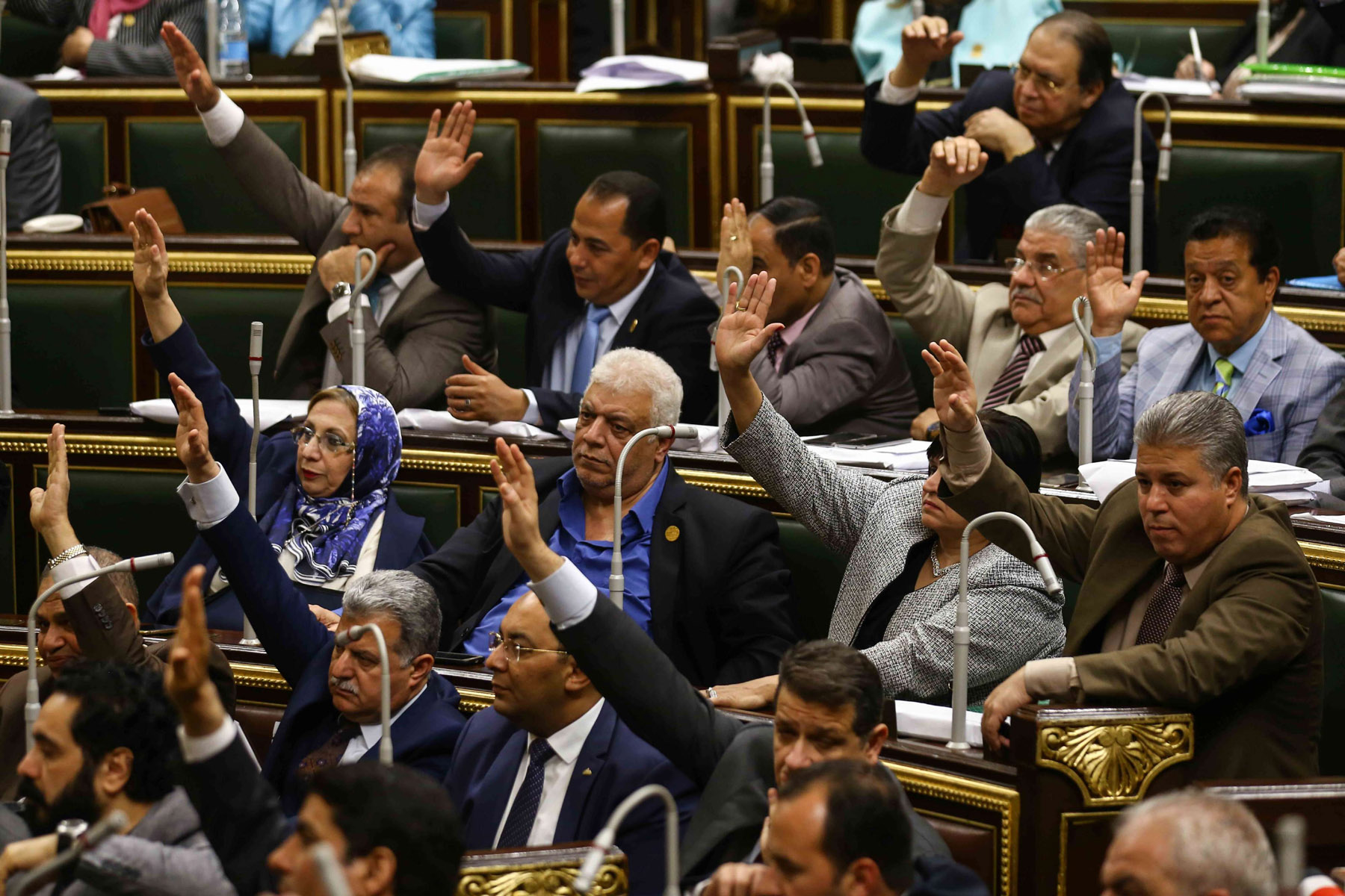 Egyptian MPs vote, during a parliamentary session in Cairo, on proposed constitutional amendments, last April. (DPA)