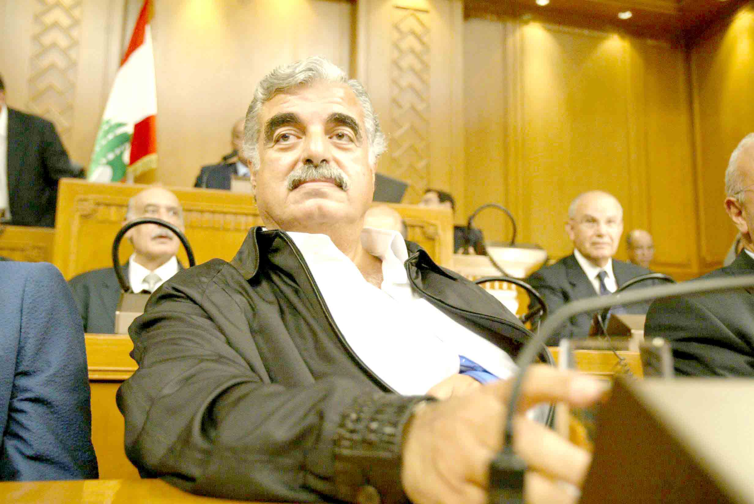 Lebanese Prime Minister Rafik Hariri attends a parliamentary session in Beirut, September 2004. (AFP)