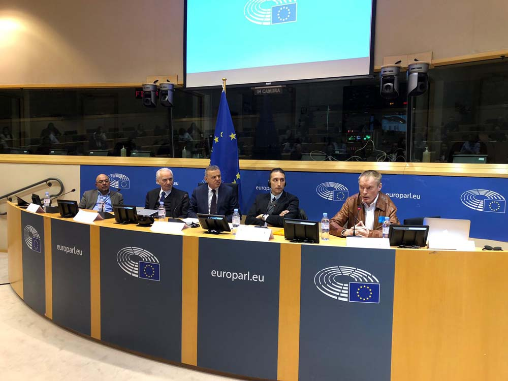"Speakers at the European Parliament conference ""Turkish Intervention in the Mediterranean: Causes, Targets and Dangers?"" in Brussels, February 18. (Al Arab)"