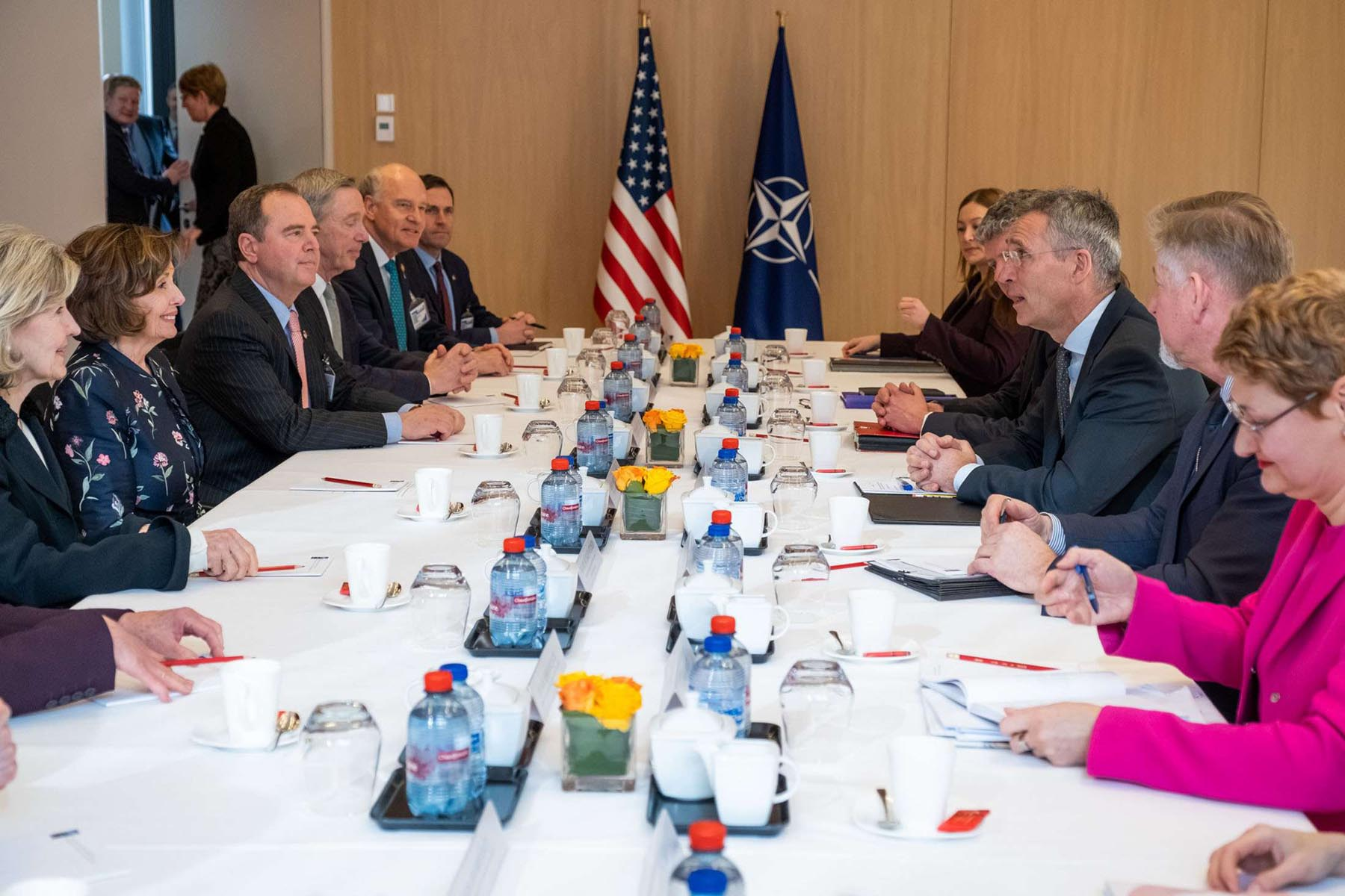 NATO Secretary-General Jens Stoltenberg (3rd R) receives Speaker of the US House of Representatives Nancy Pelosi (2nd L) in Brussels, February 17. (DPA)