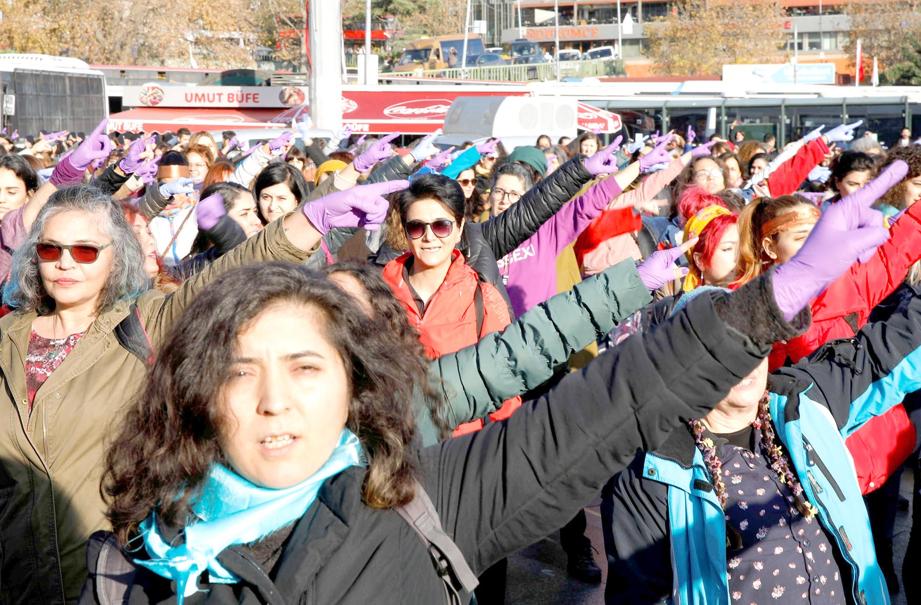 Women perform the Chilean anti-rape song during a protest against gender  violence in Istanbul, last December.      (Reuters)