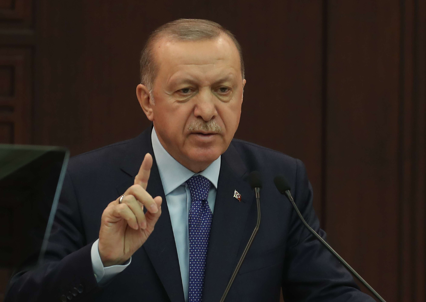 Turkish President Recep Tayyip Erdogan speaks during a news conference at the Cankaya Palace in Ankara, March 18. (AFP)