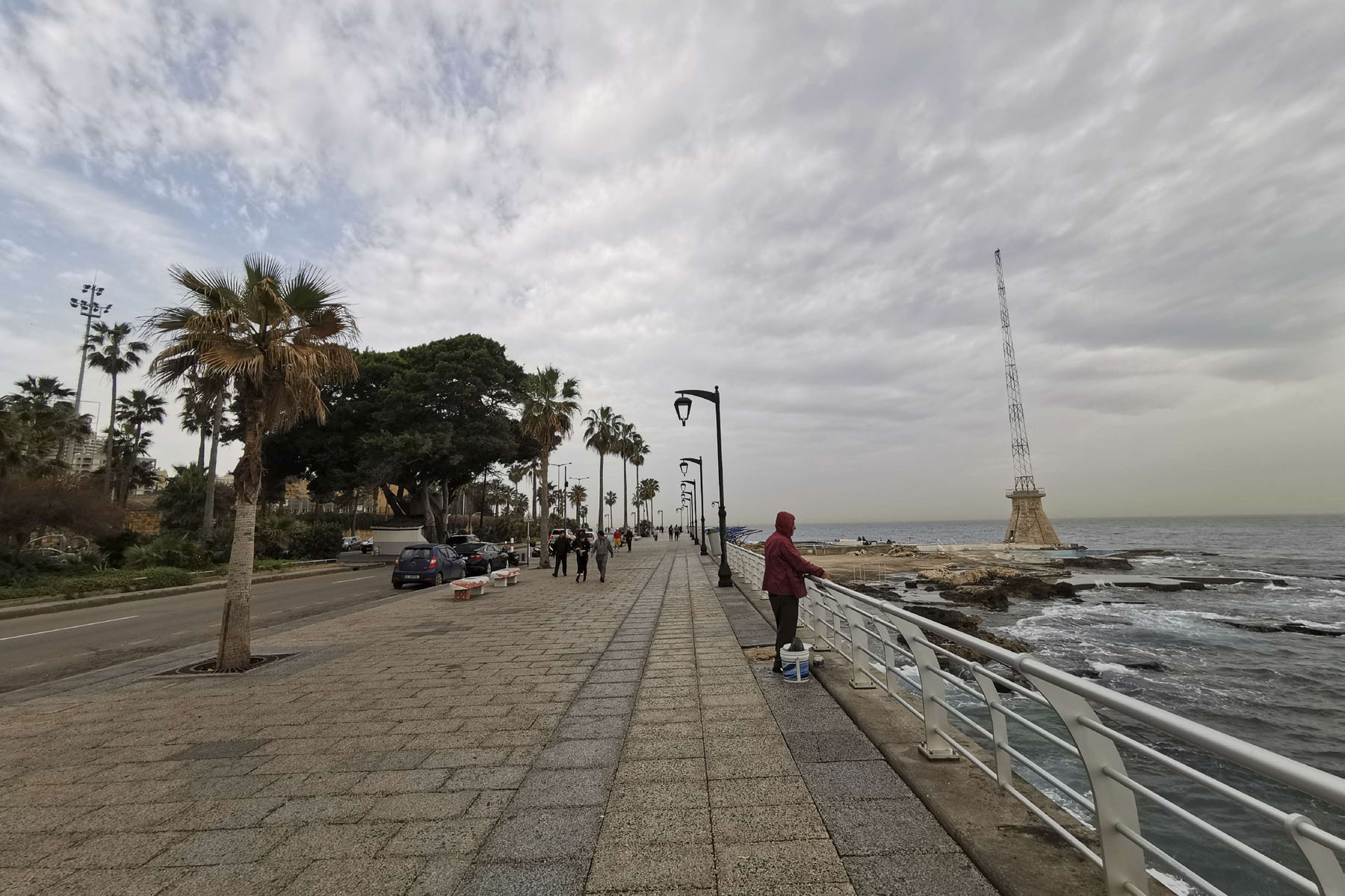 Beirut's seaside corniche, or waterfront promenade, along the Mediterranean Sea, seen almost empty of residents and tourists in Beirut, March 12. (AP)